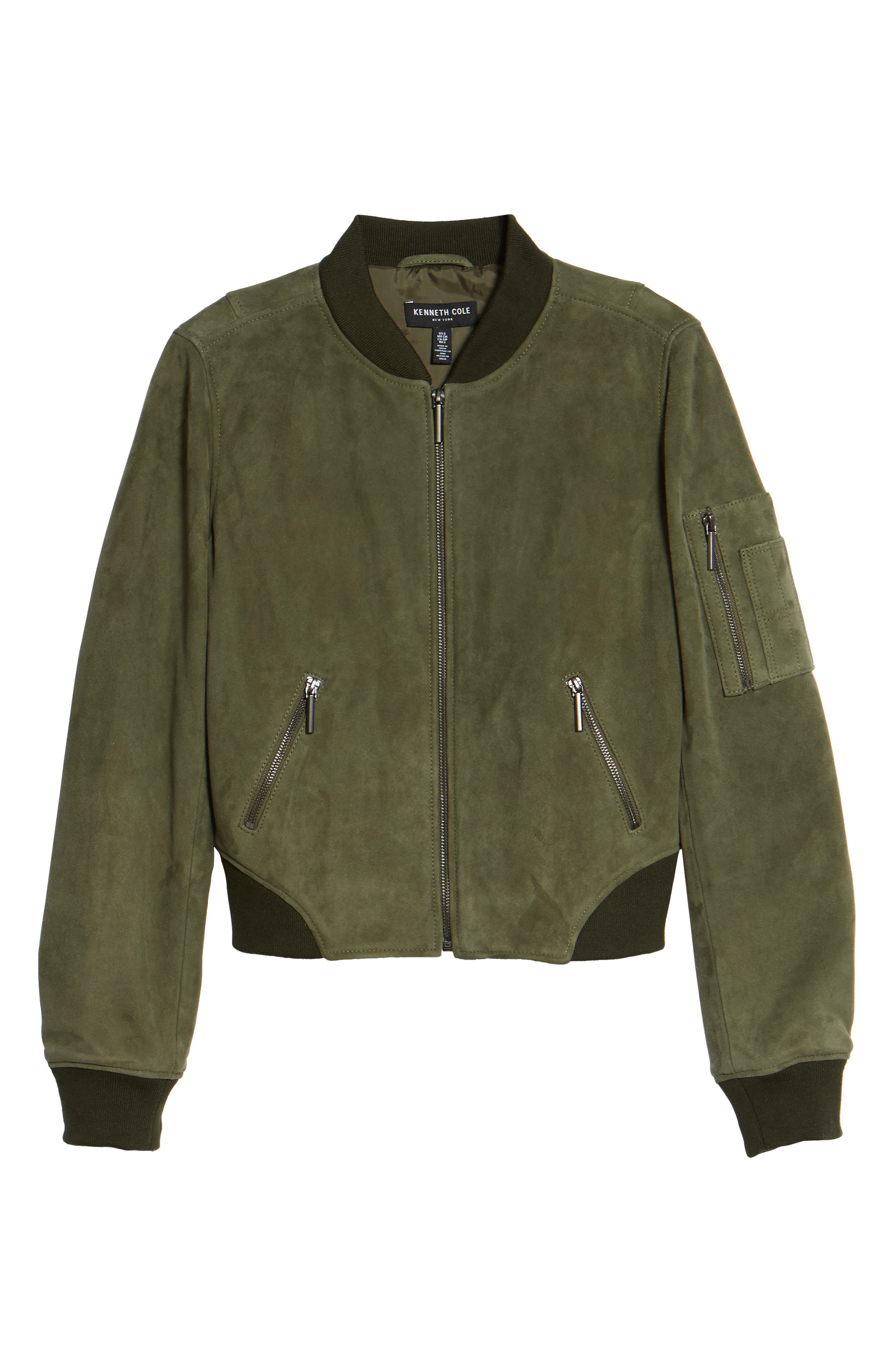 Crop Suede Bomber Jacket,                             Alternate thumbnail 6, color,                             Green Grove