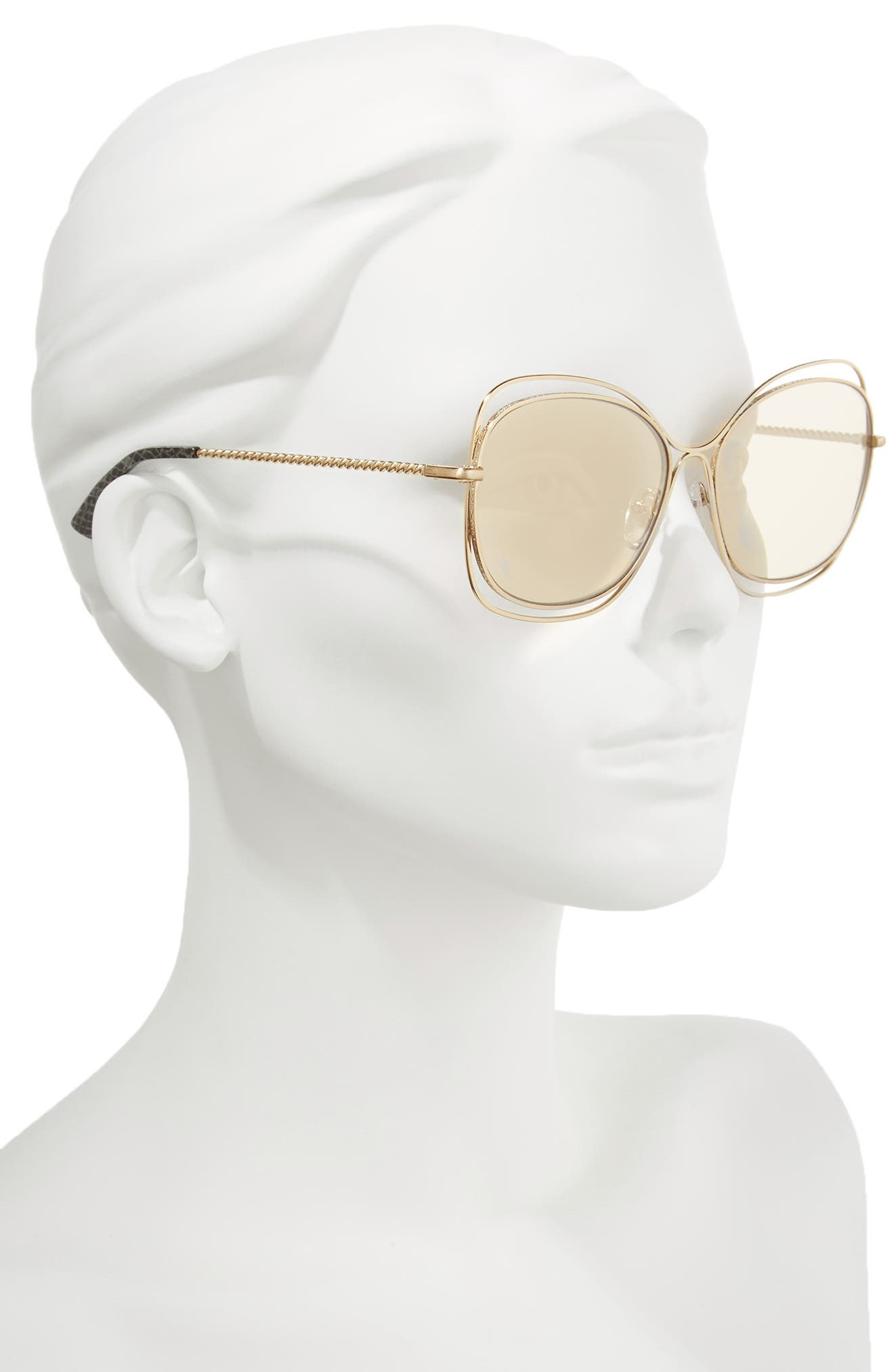 Collins 60mm Butterfly Sunglasses,                             Alternate thumbnail 2, color,                             Soft Gold