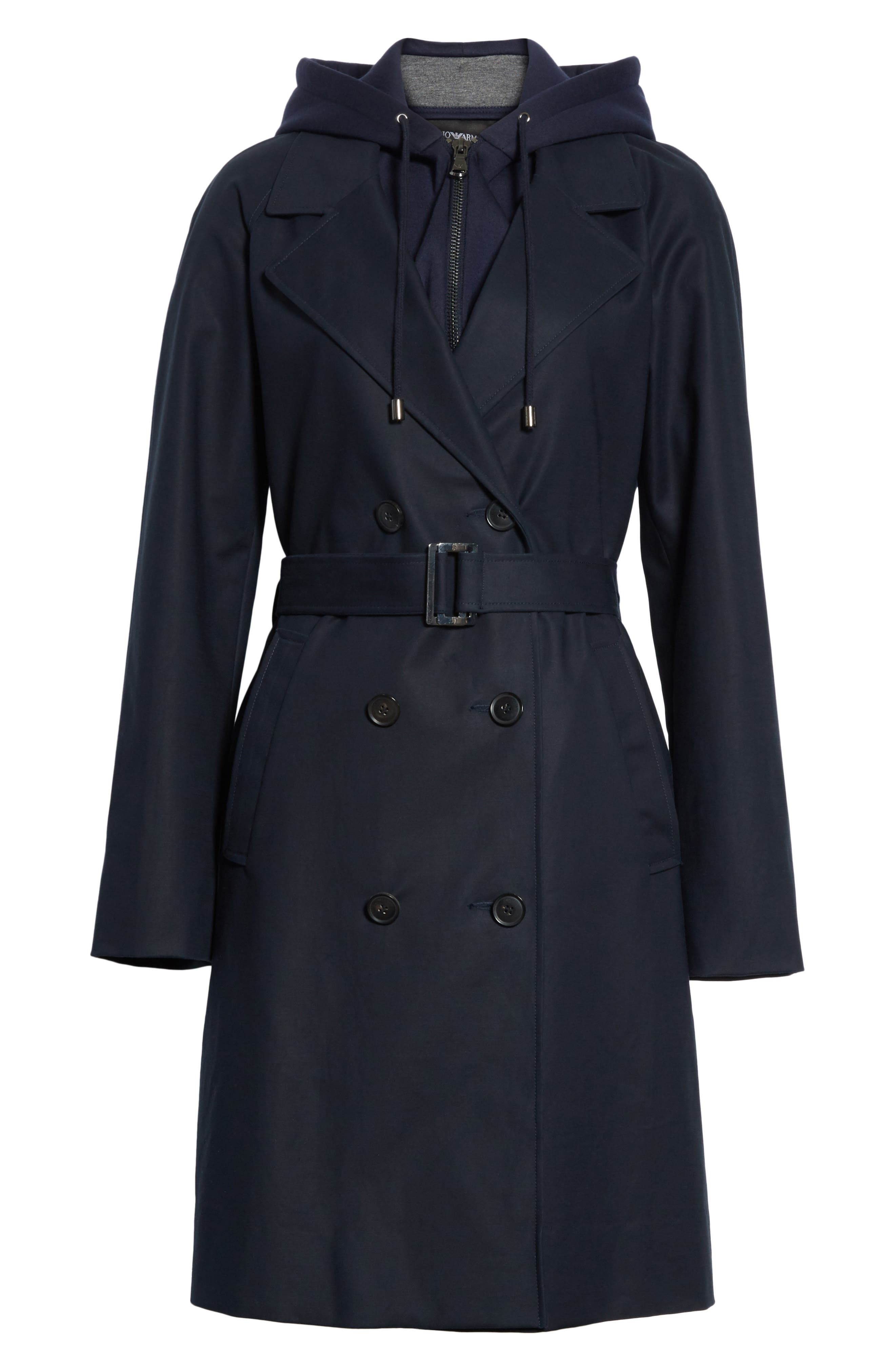Alternate Image 7  - Emporio Armani Double Breasted Cotton Blend Trench Coat with Removable Hoodie Inset