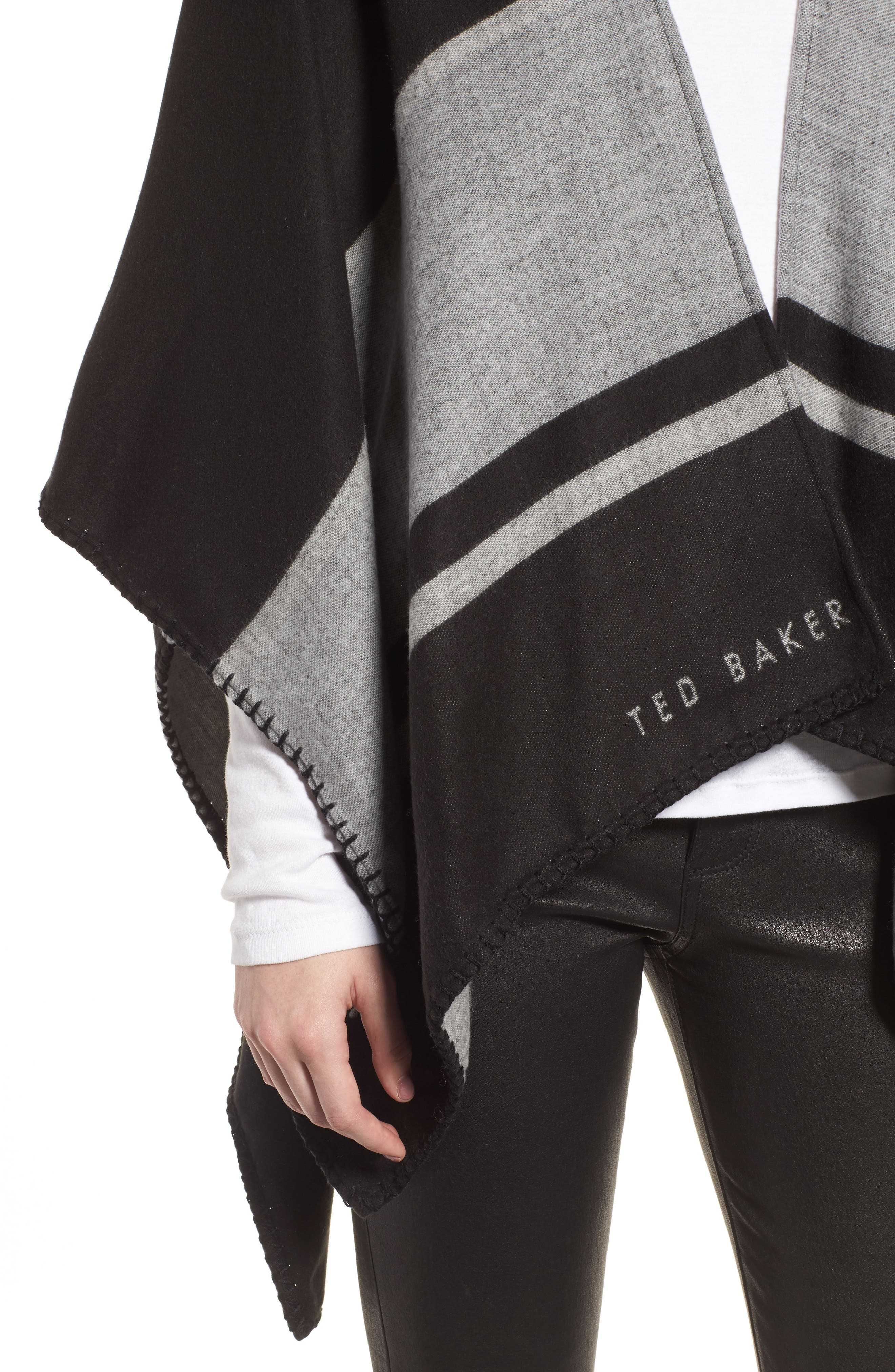 Stairway Stripe Blanket Cape,                             Alternate thumbnail 4, color,                             00-Black