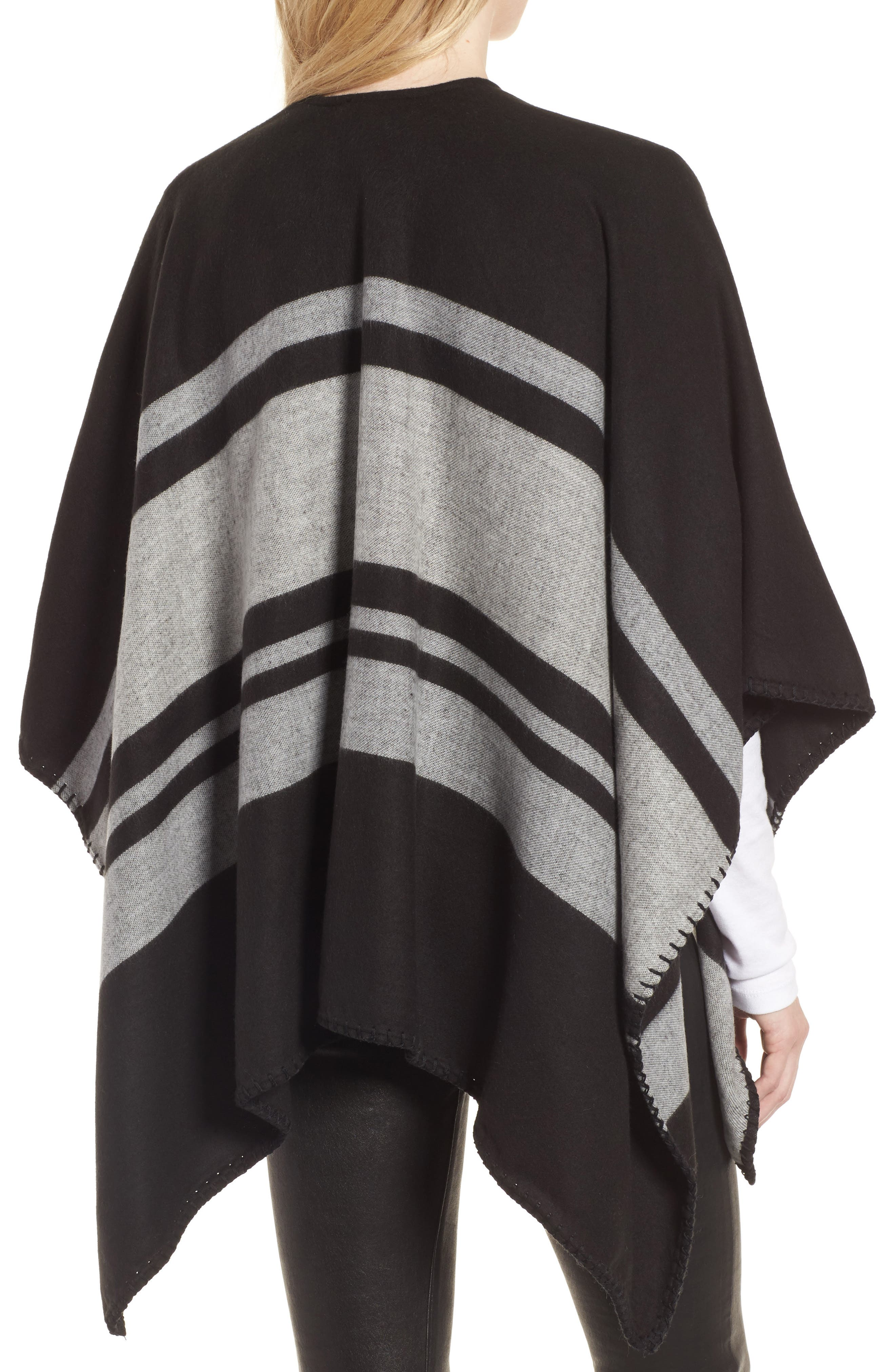 Stairway Stripe Blanket Cape,                             Alternate thumbnail 2, color,                             00-Black