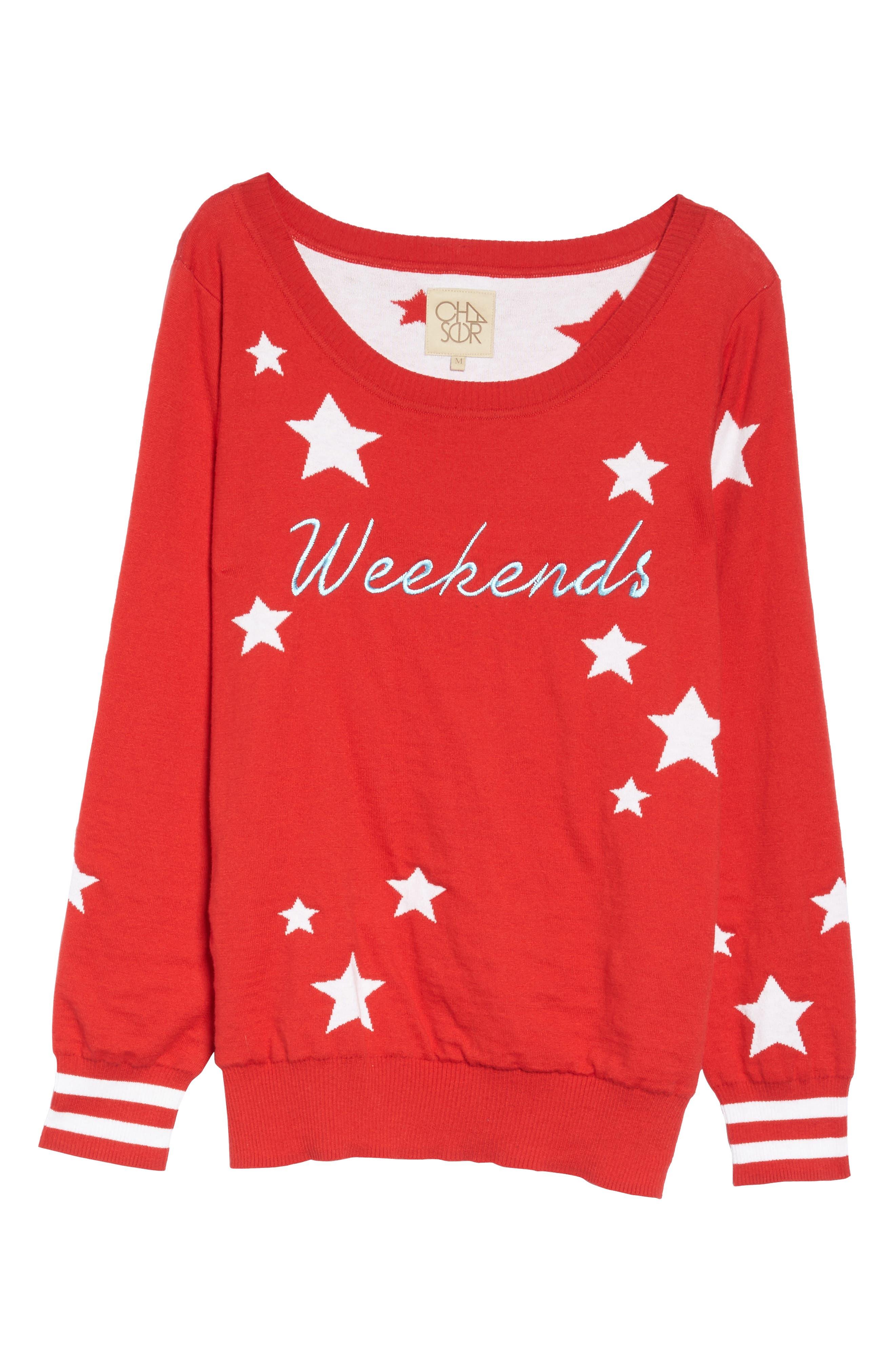 Weekends Intarsia Sweater,                             Alternate thumbnail 4, color,                             Cardinal