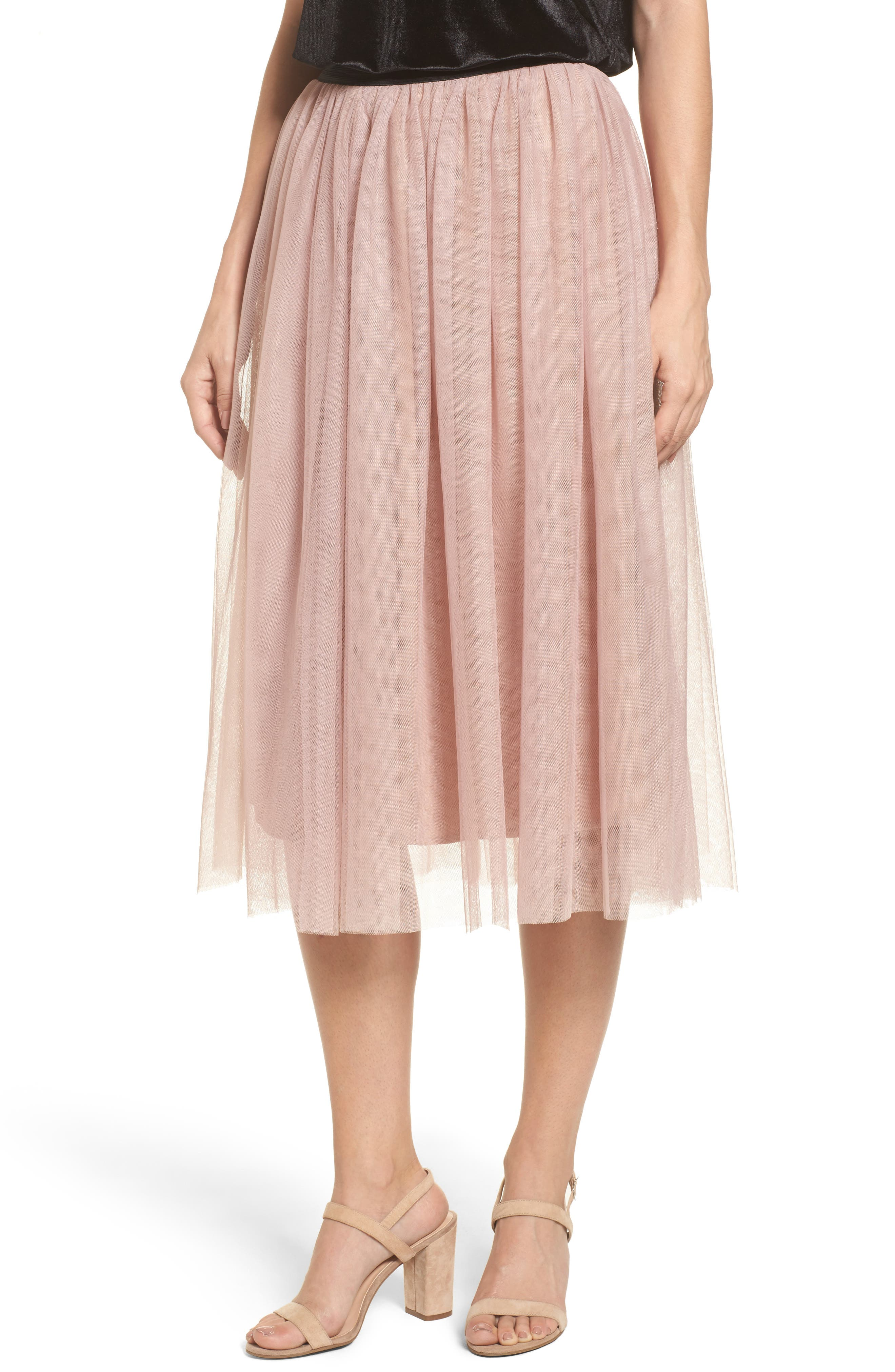 Halogen® Tulle Midi Skirt (Regular & Petite)