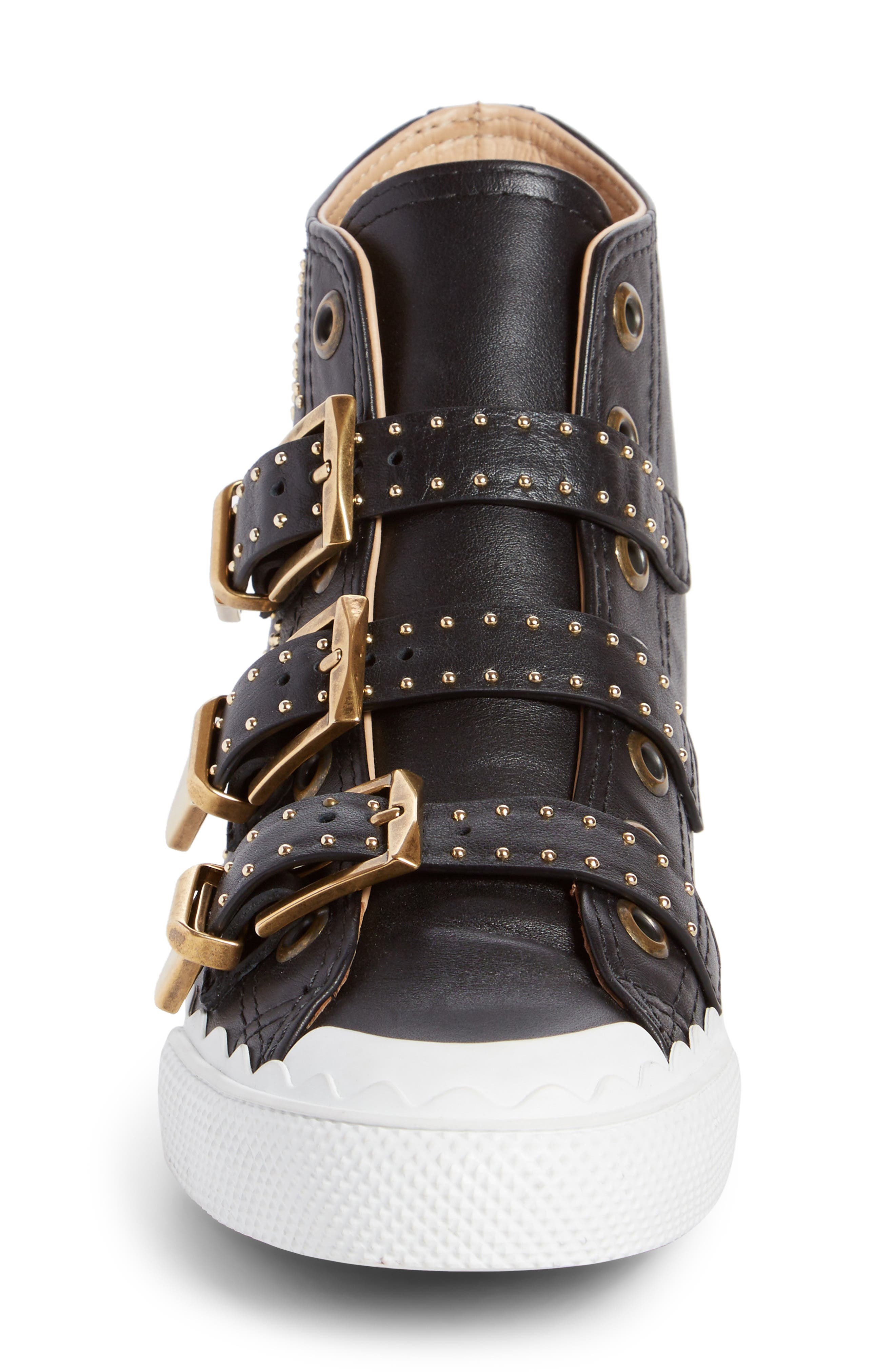 Kyle Stud Buckle High Top Sneaker,                             Alternate thumbnail 3, color,                             Black/ Gold