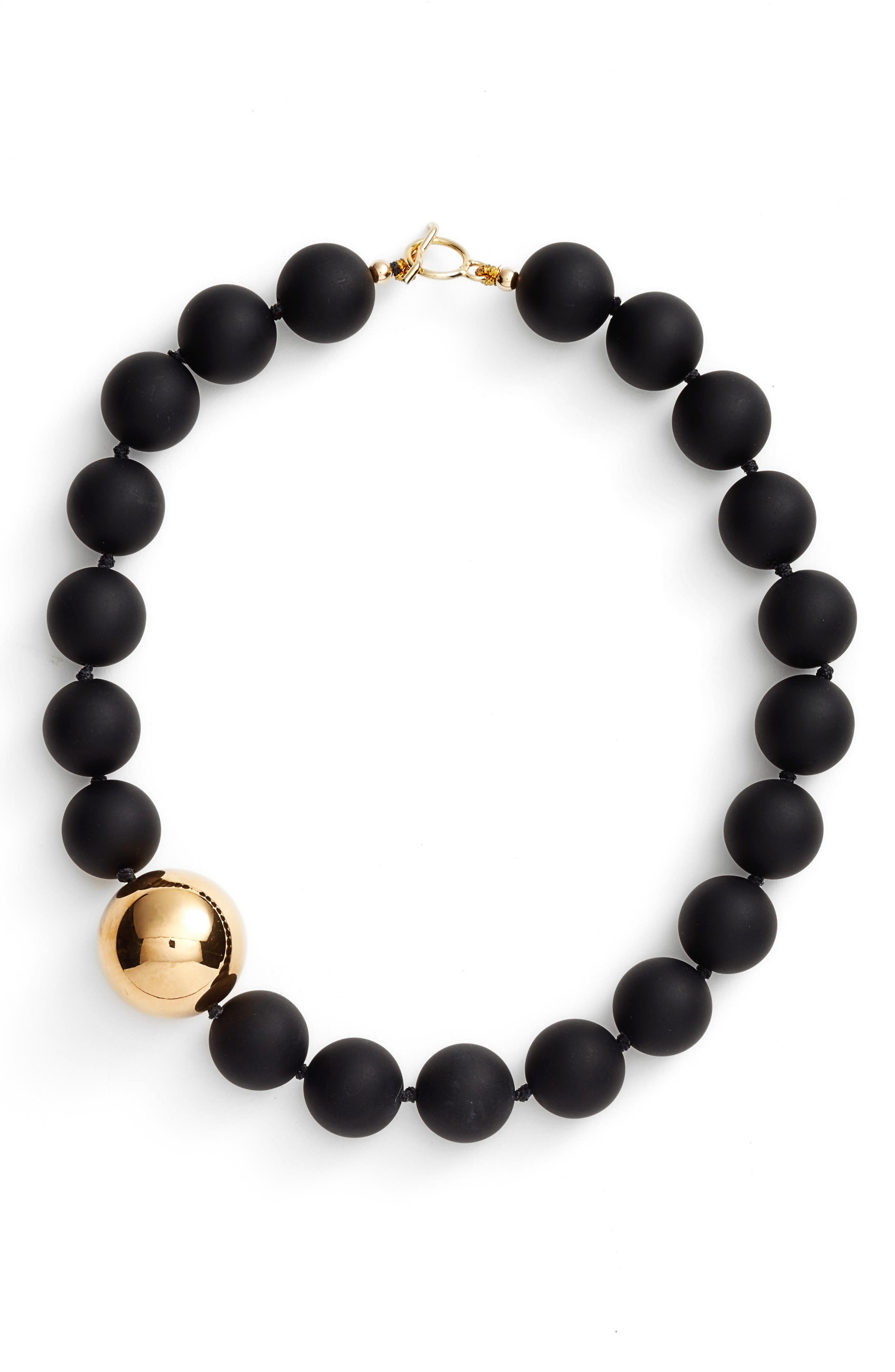 Simon Sebbag Vermeil Bead Matte Onyx Collar Necklace
