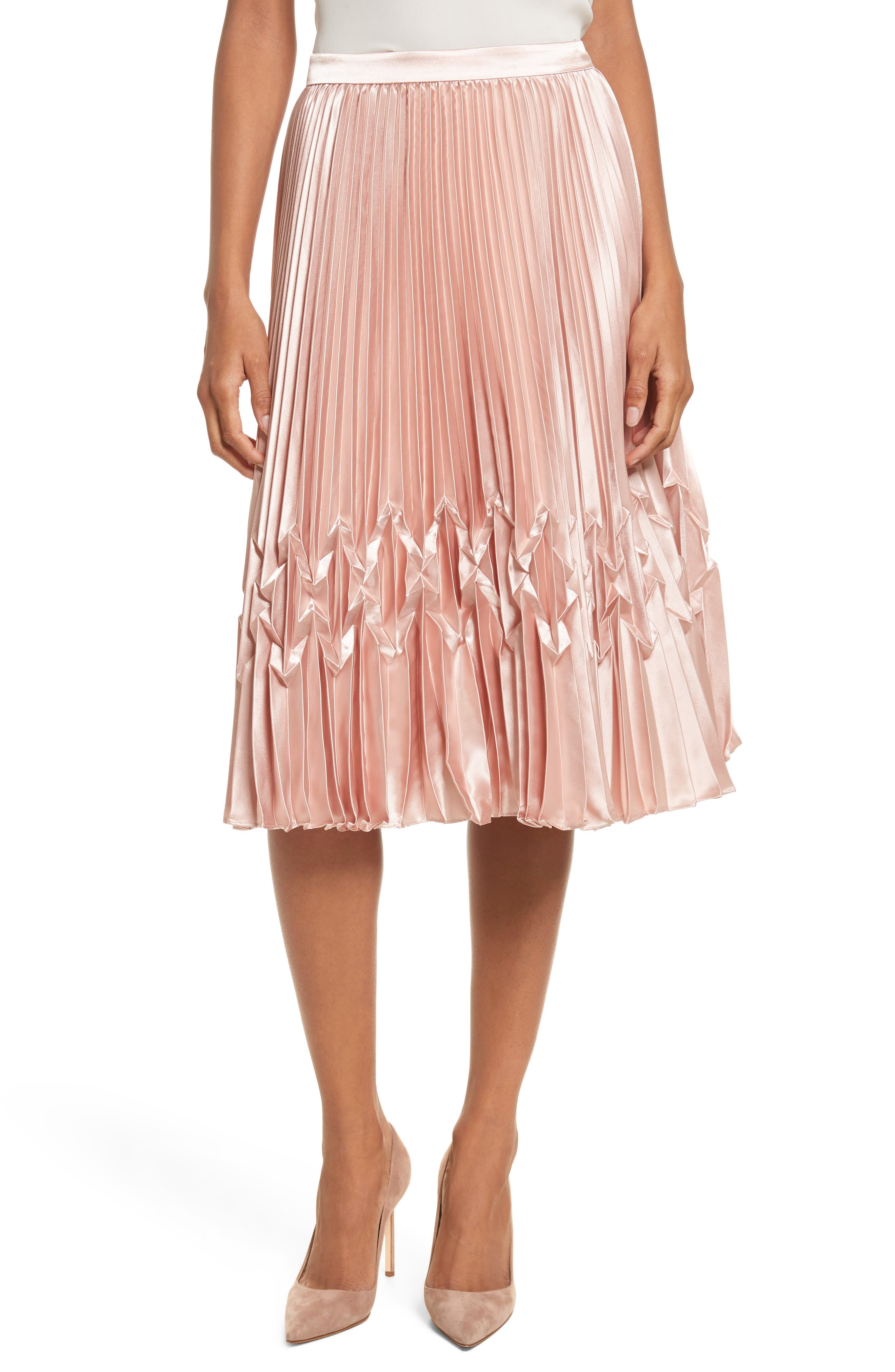 Zigzag Detail Pleated Midi Skirt,                             Main thumbnail 1, color,                             Rose Gold
