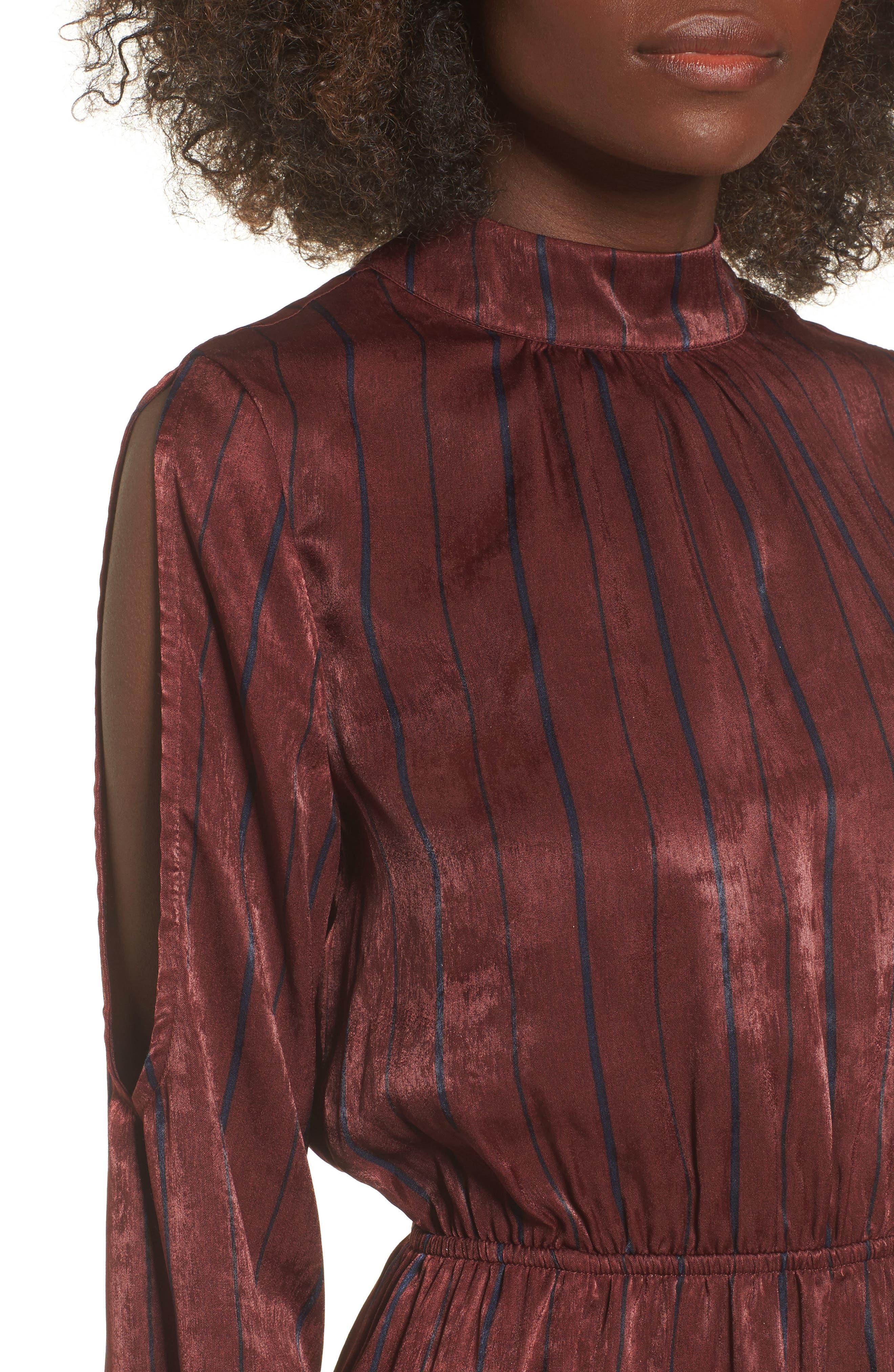 Cold Shoulder Maxi Dress,                             Alternate thumbnail 4, color,                             Wine Multi