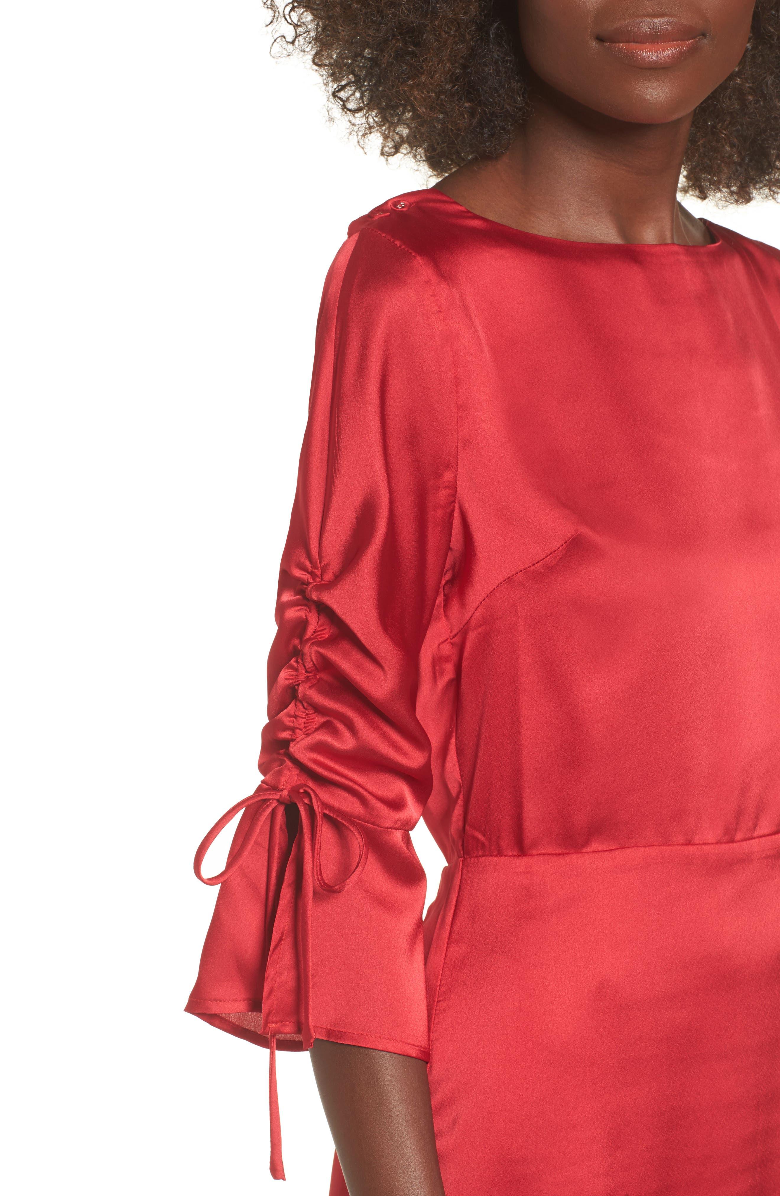 Tie Sleeve Minidress,                             Alternate thumbnail 4, color,                             Scarlett Red