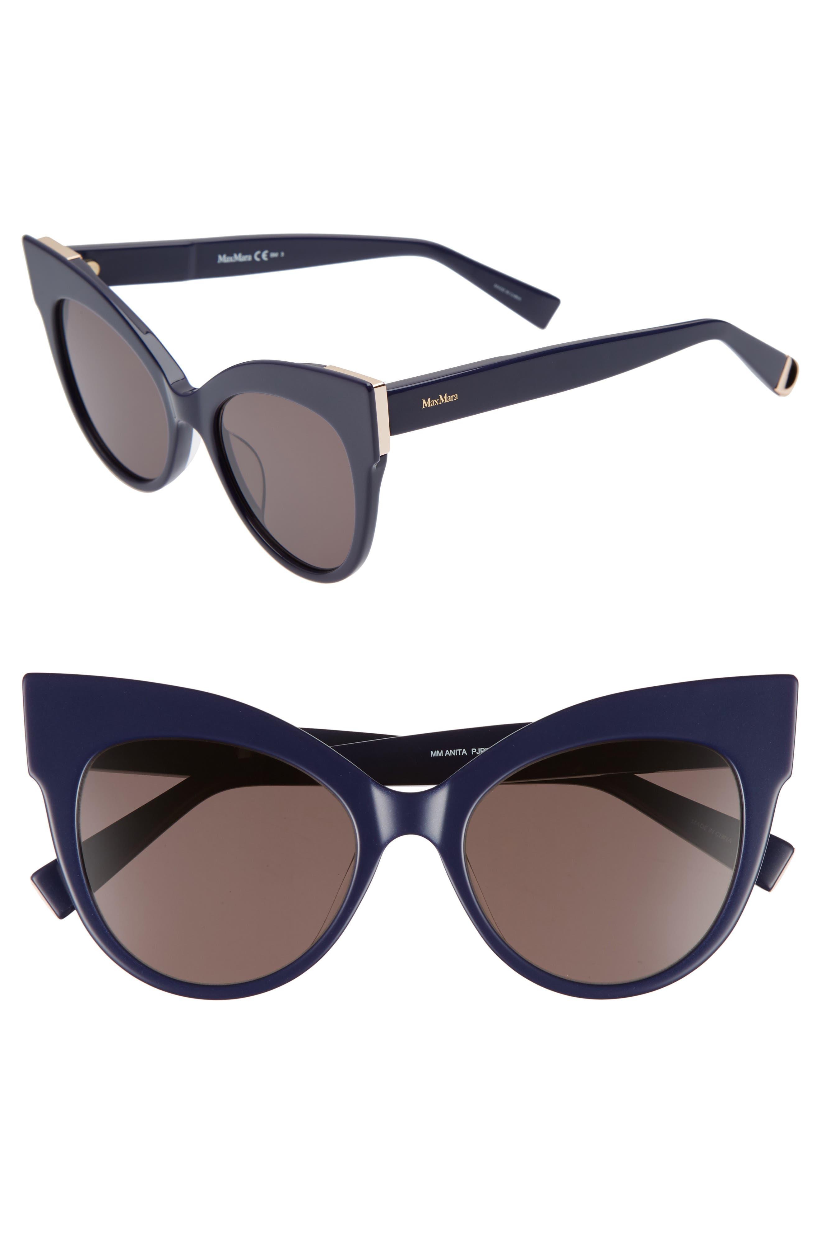 Anita 52mm Cat Eye Sunglasses,                         Main,                         color, Blue