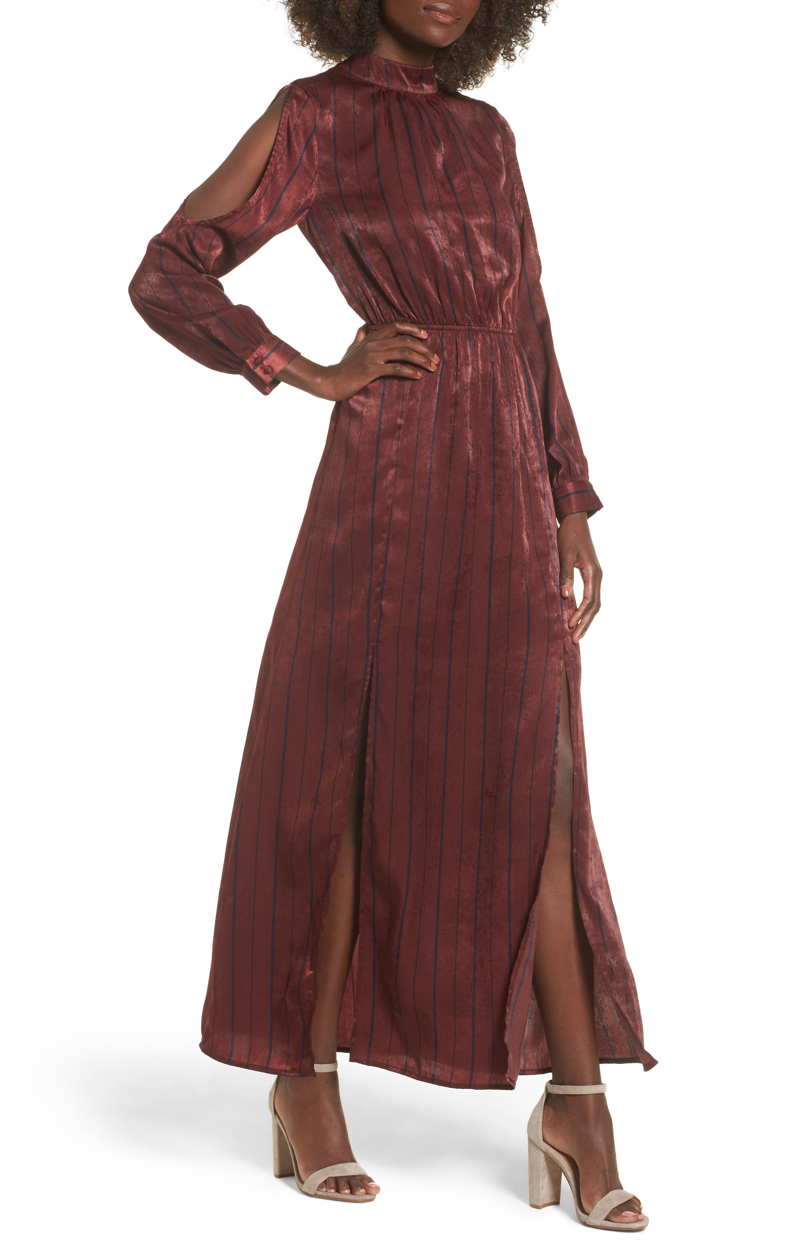 Cold Shoulder Maxi Dress,                         Main,                         color, Wine Multi