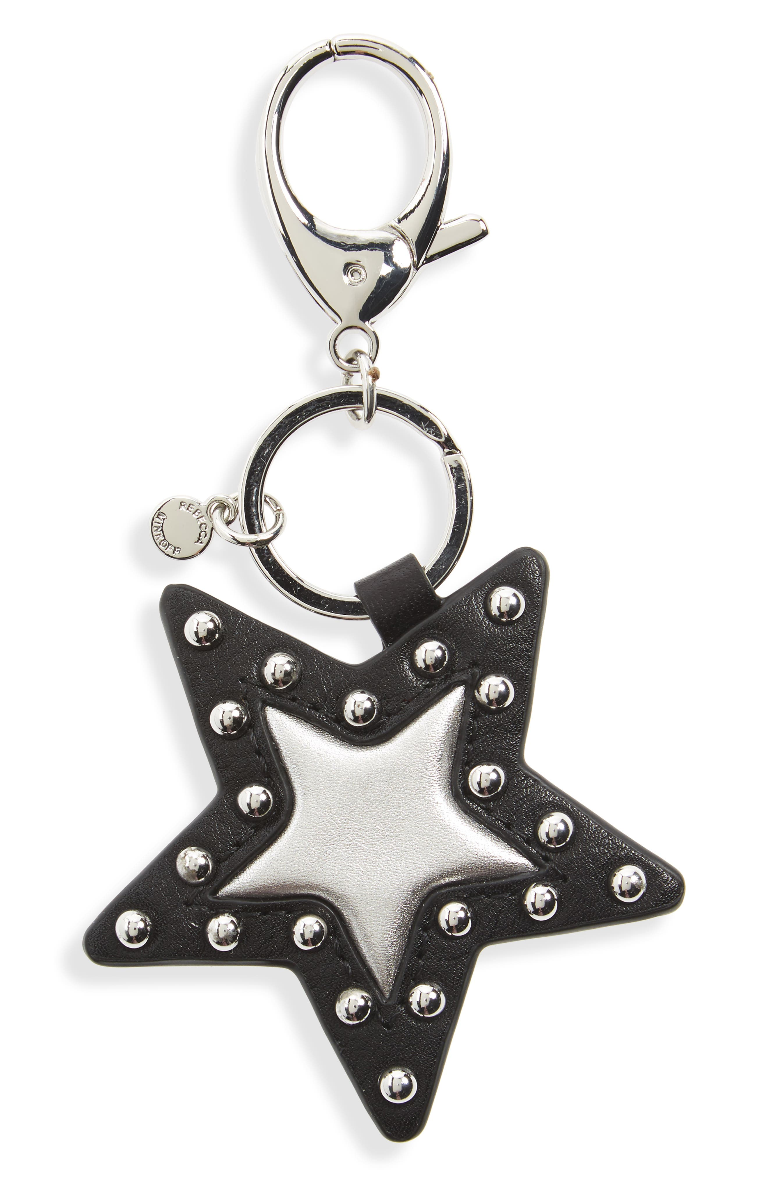 Studed Star Leather Bag Charm,                         Main,                         color, Black/ Silver