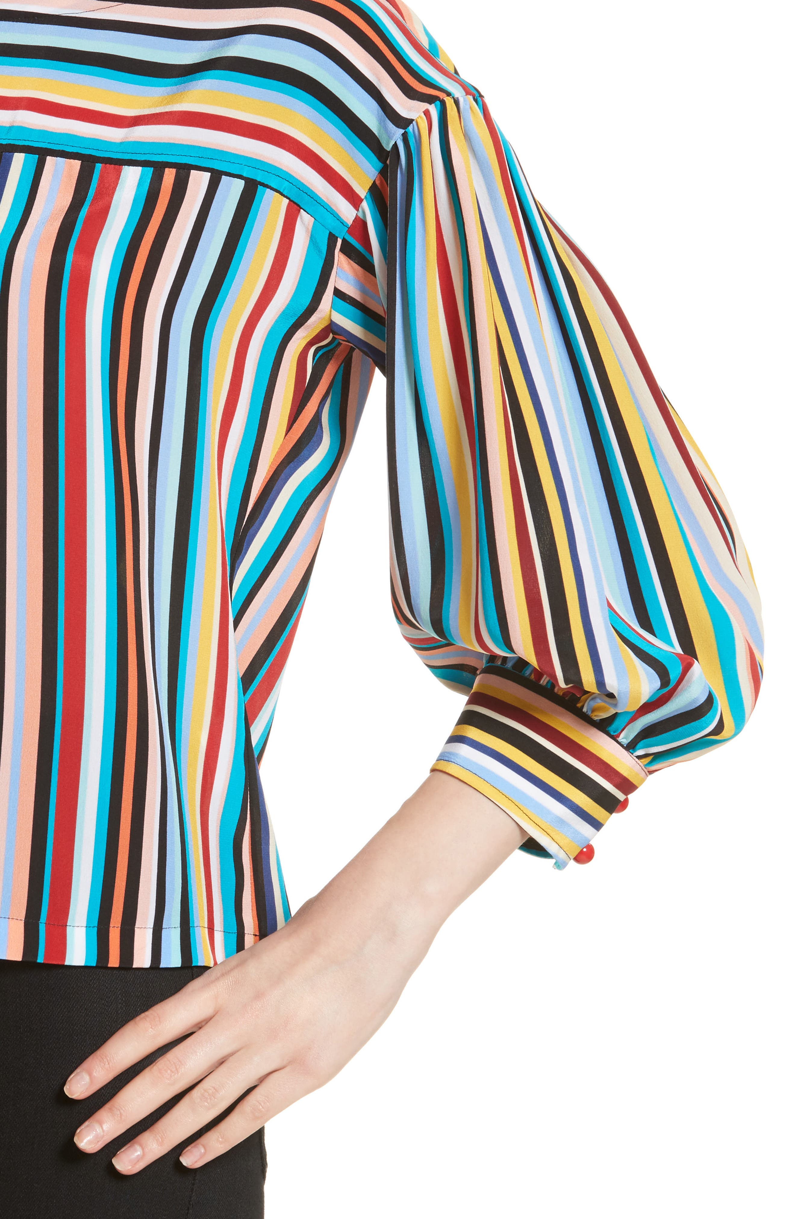 Stripe Silk Top,                             Alternate thumbnail 4, color,                             Skinny Stripes