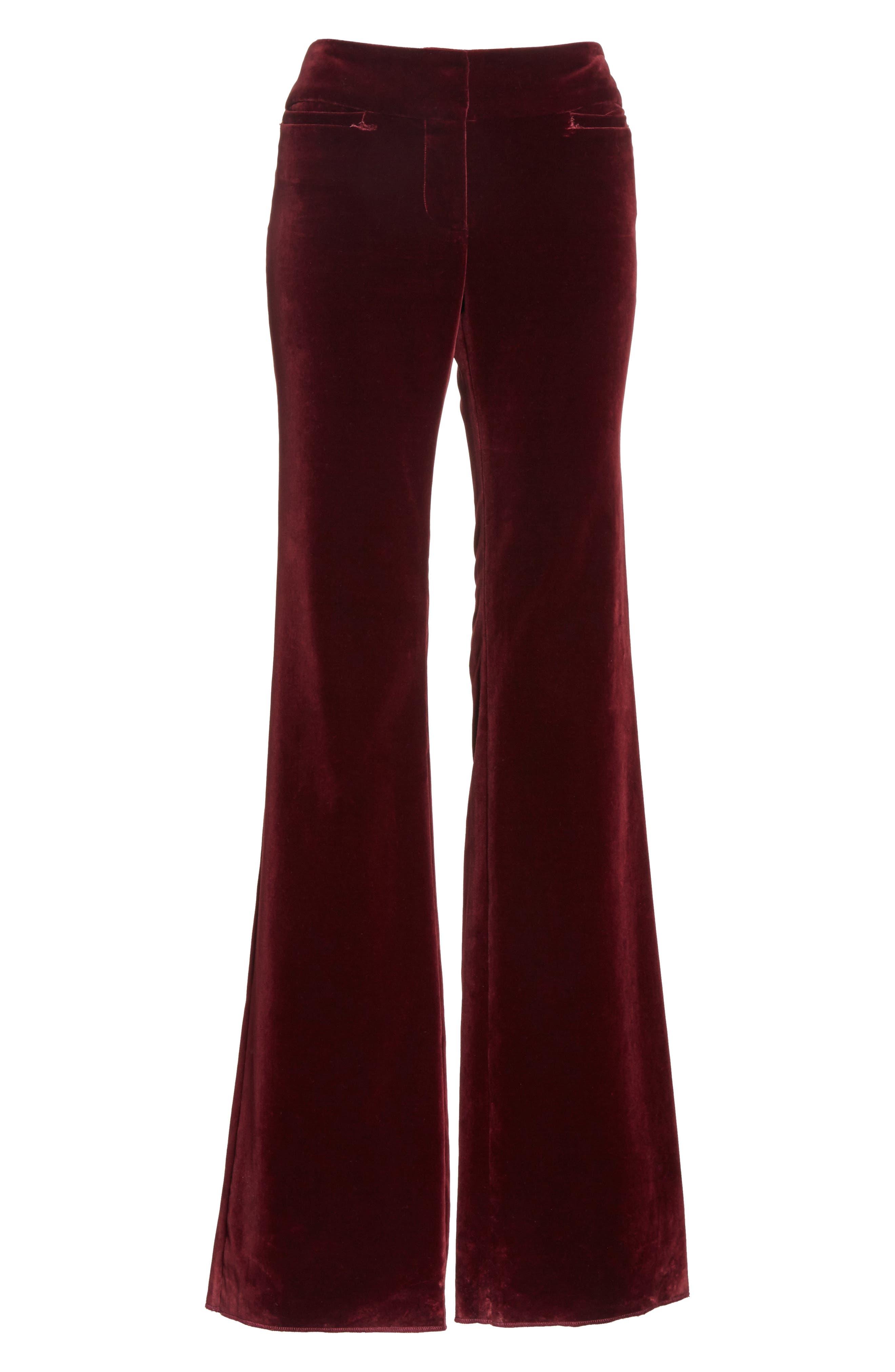 Amoire Velvet Flare Pants,                             Alternate thumbnail 8, color,                             Burgundy