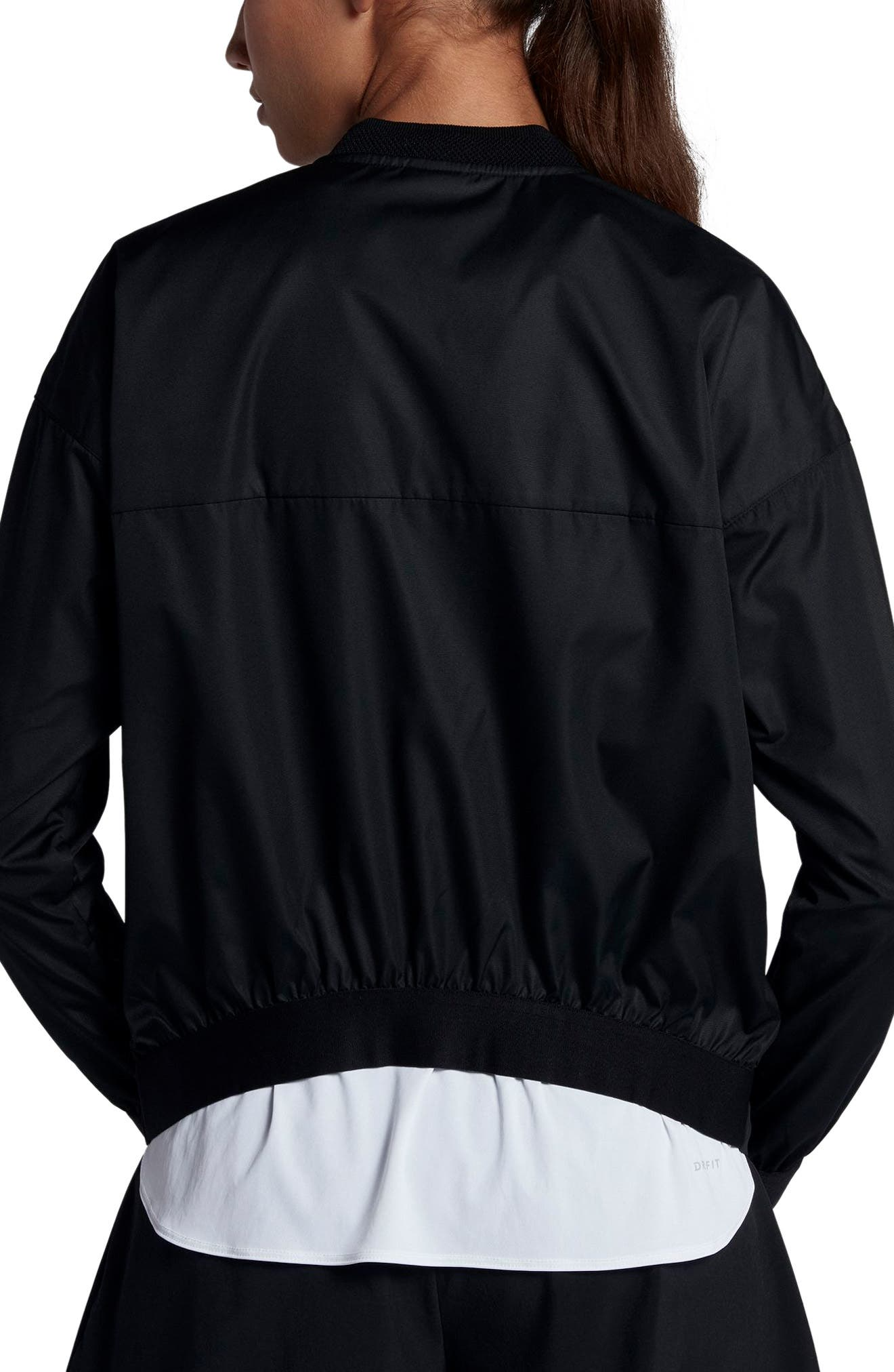 Court Water-Resistant Bomber Jacket,                             Alternate thumbnail 2, color,                             Black/ Summit White/ White