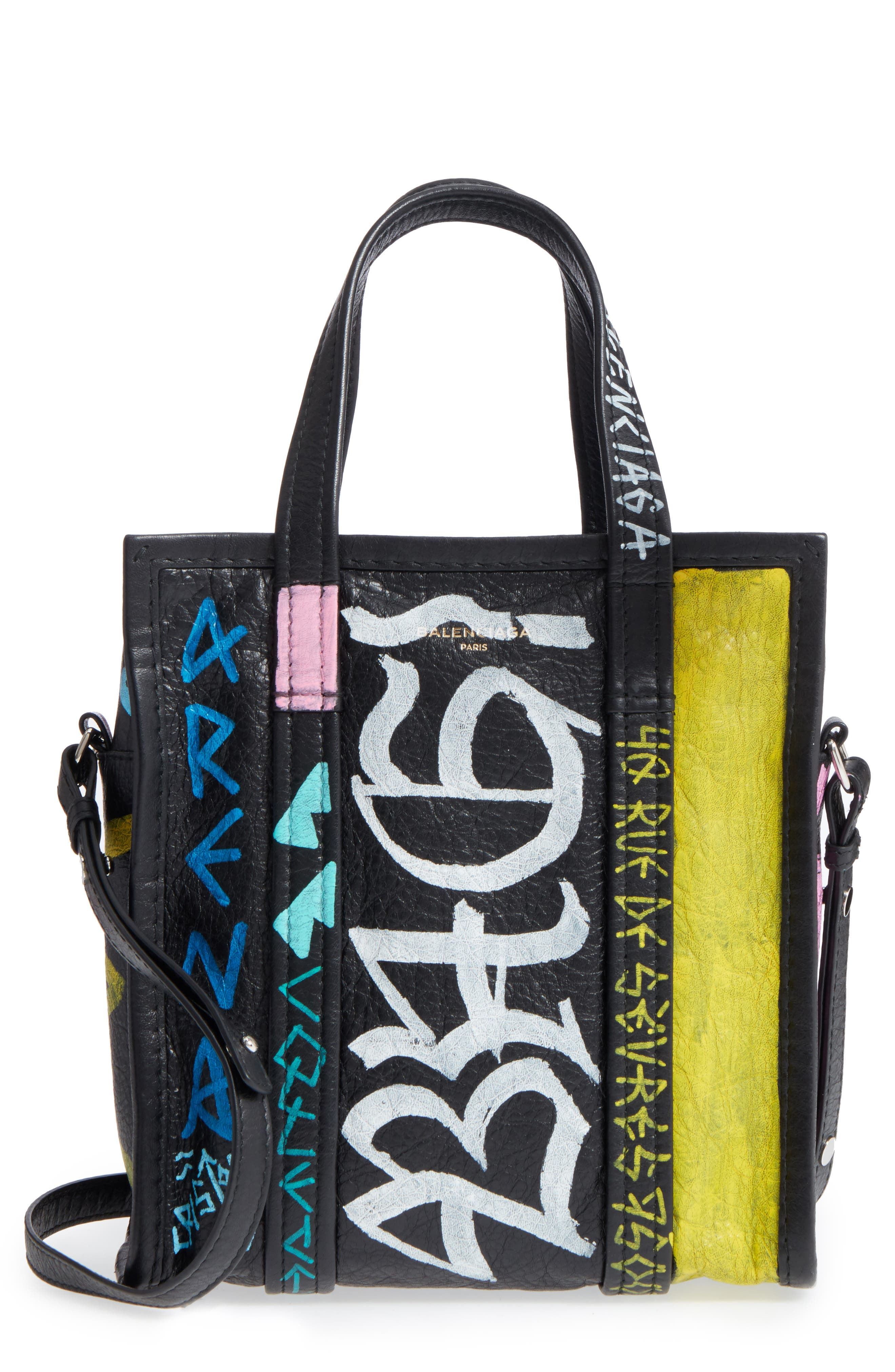 Extra Small Bazar Graffiti Lambskin Shopper,                         Main,                         color, Noir/ Multi Color