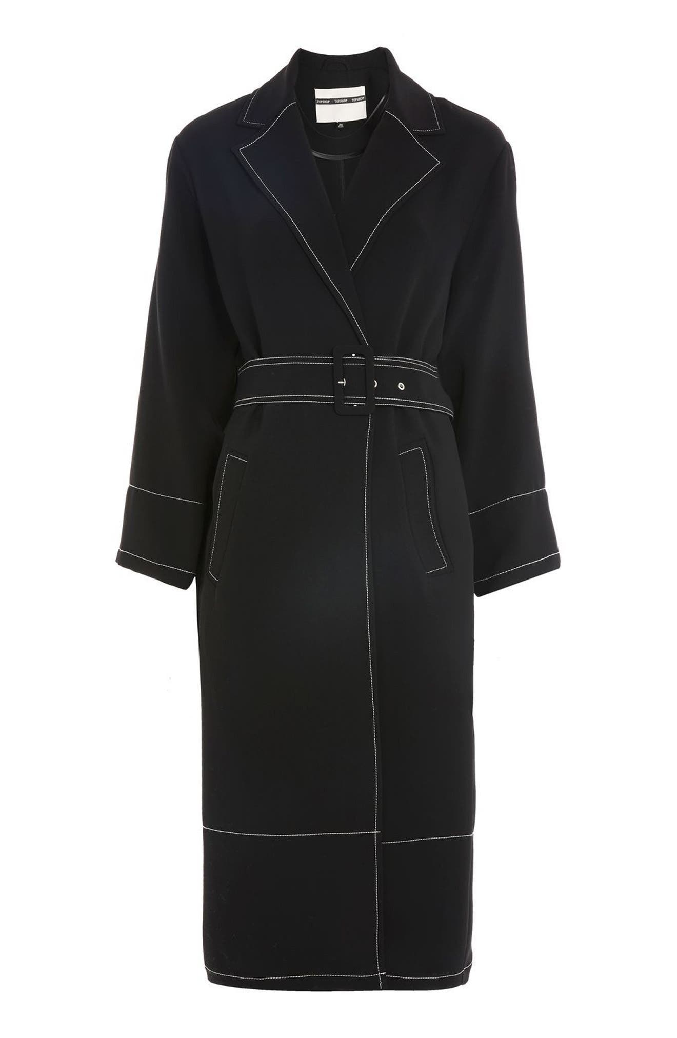 Contrast Stitch Duster Coat,                             Alternate thumbnail 5, color,                             Black