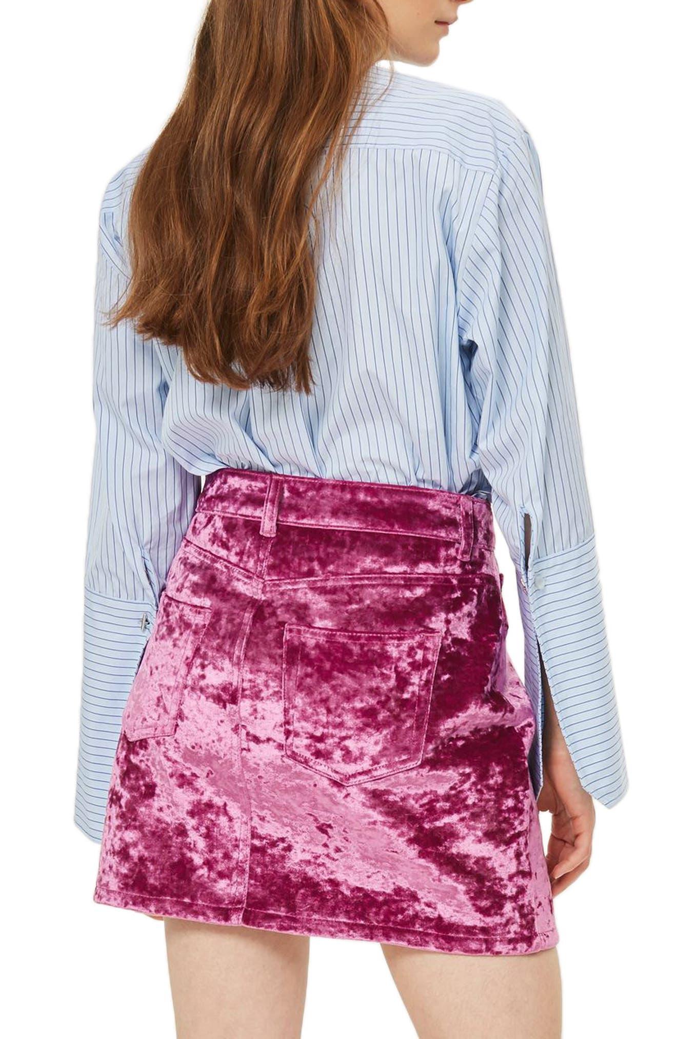Bonded Velvet Miniskirt,                             Alternate thumbnail 2, color,                             Pink