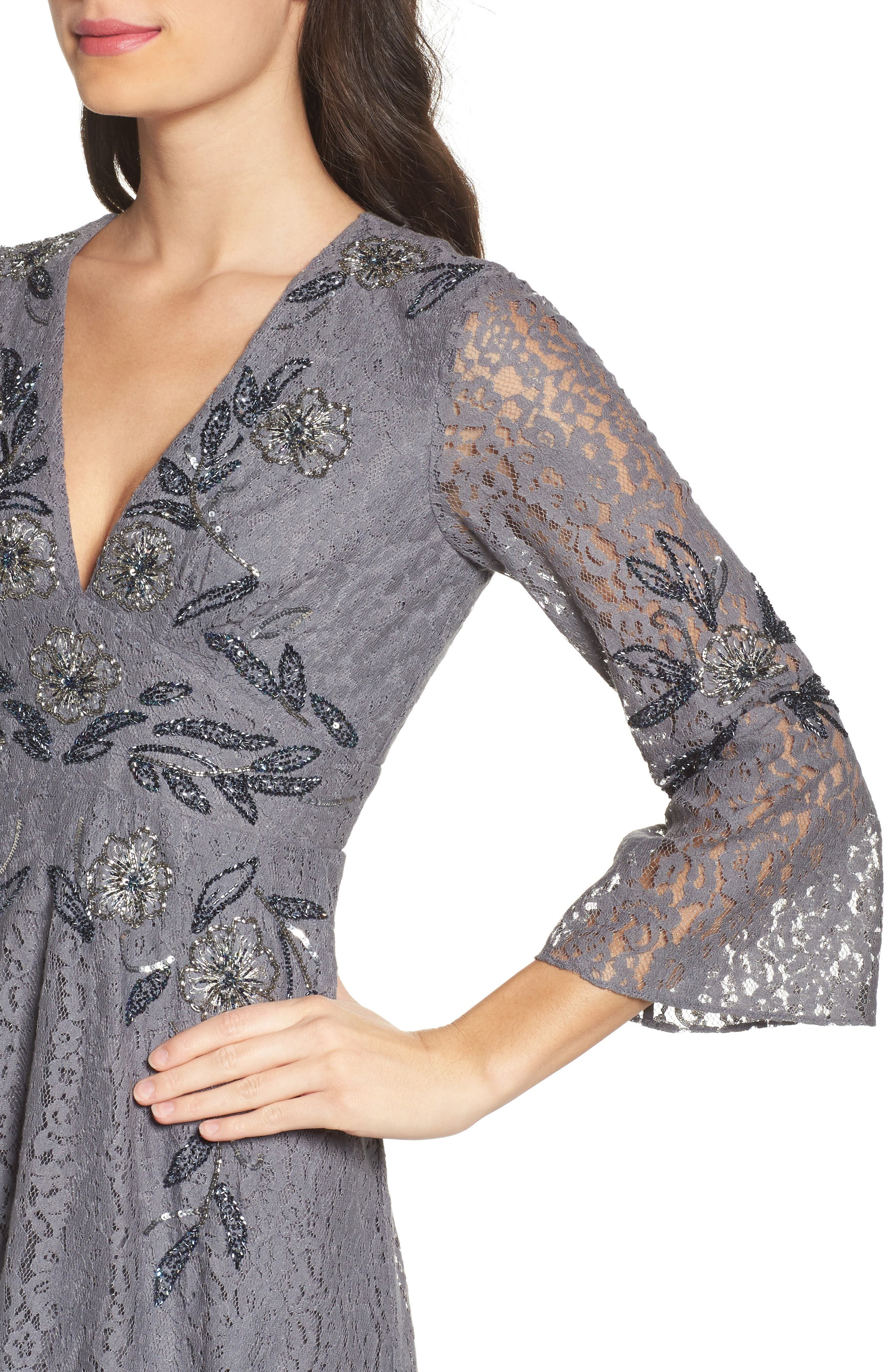 Esme Shimmer Beaded Lace Dress,                             Alternate thumbnail 4, color,                             Smokey