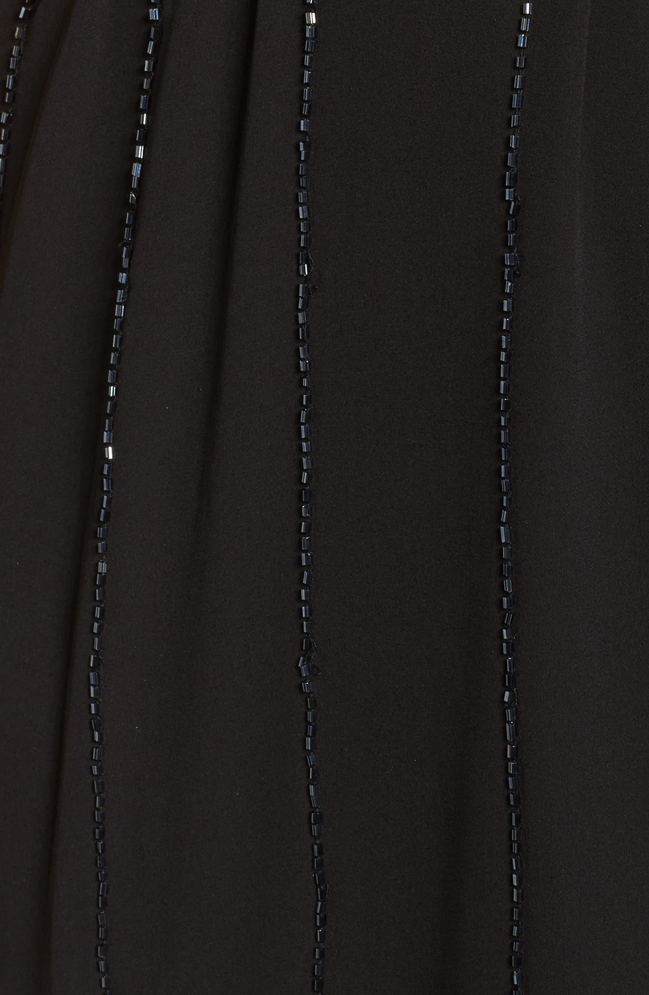 Beaded A-Line Dress,                             Alternate thumbnail 6, color,                             Black