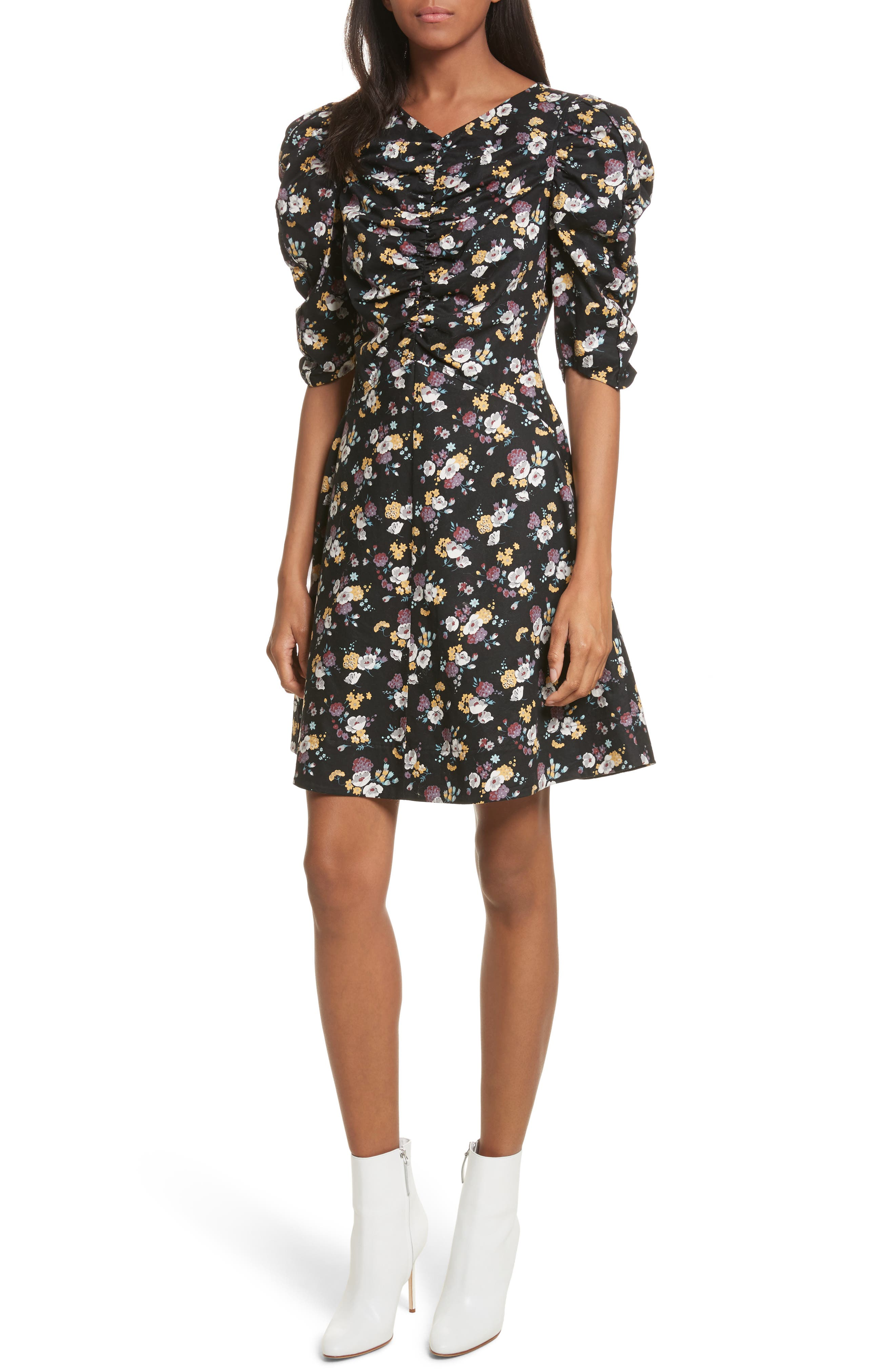 Winter Posey Fit & Flare Dress,                         Main,                         color, Black Combo