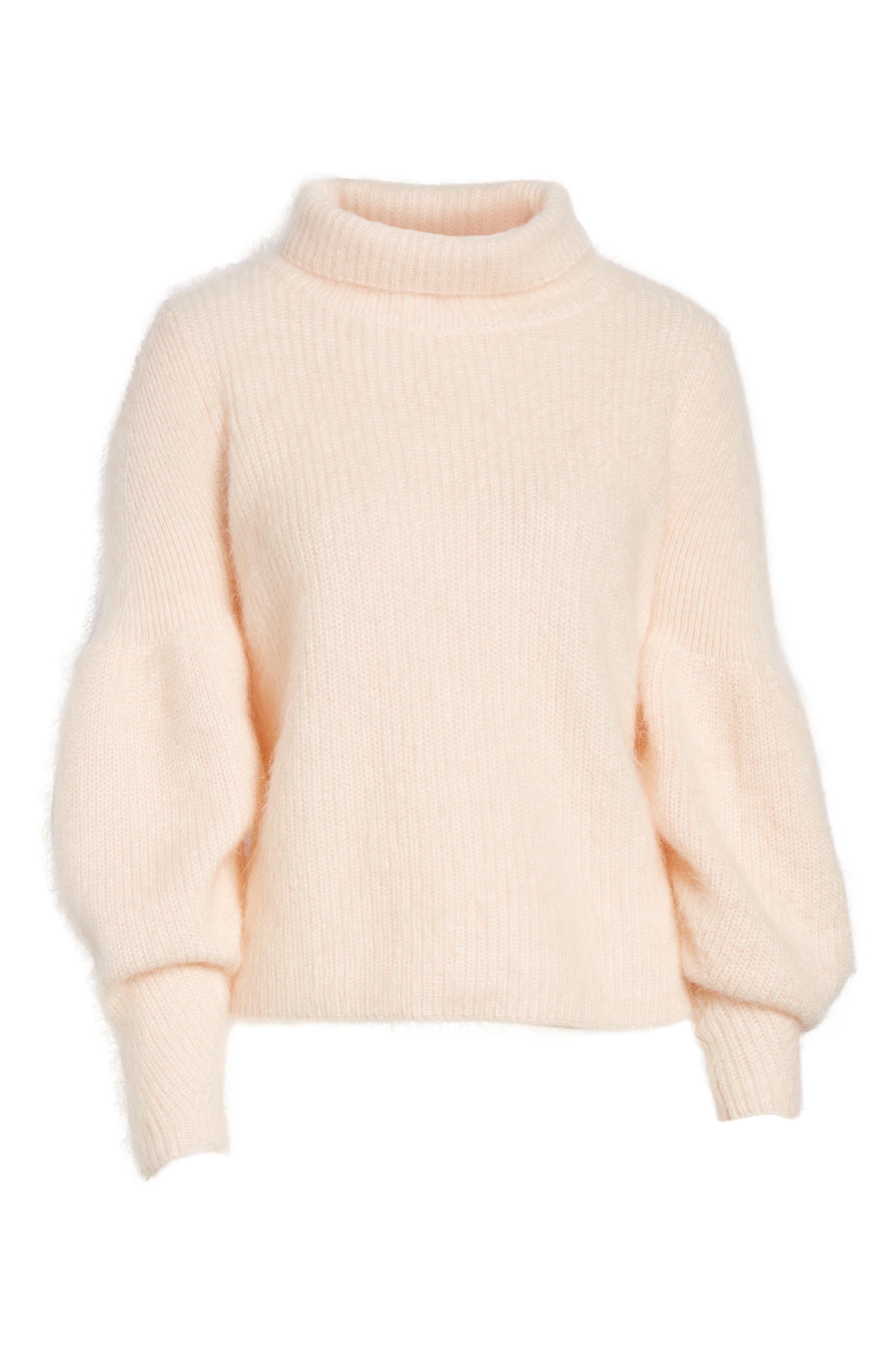 Poet Sleeve Sweater,                             Alternate thumbnail 6, color,                             Pink Peony Bud