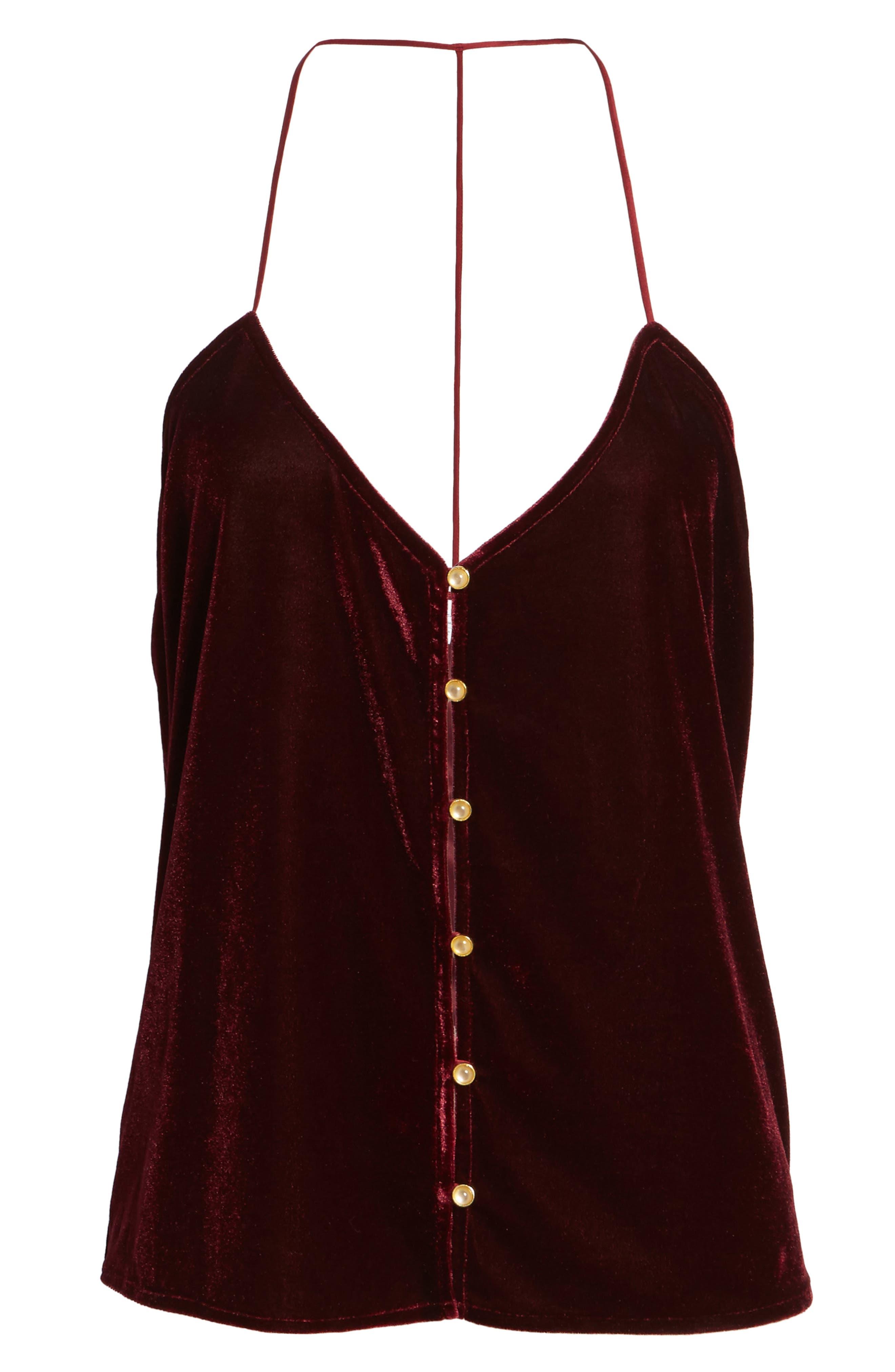 L'Academie The T-Back Velvet Camisole,                             Alternate thumbnail 6, color,                             Red