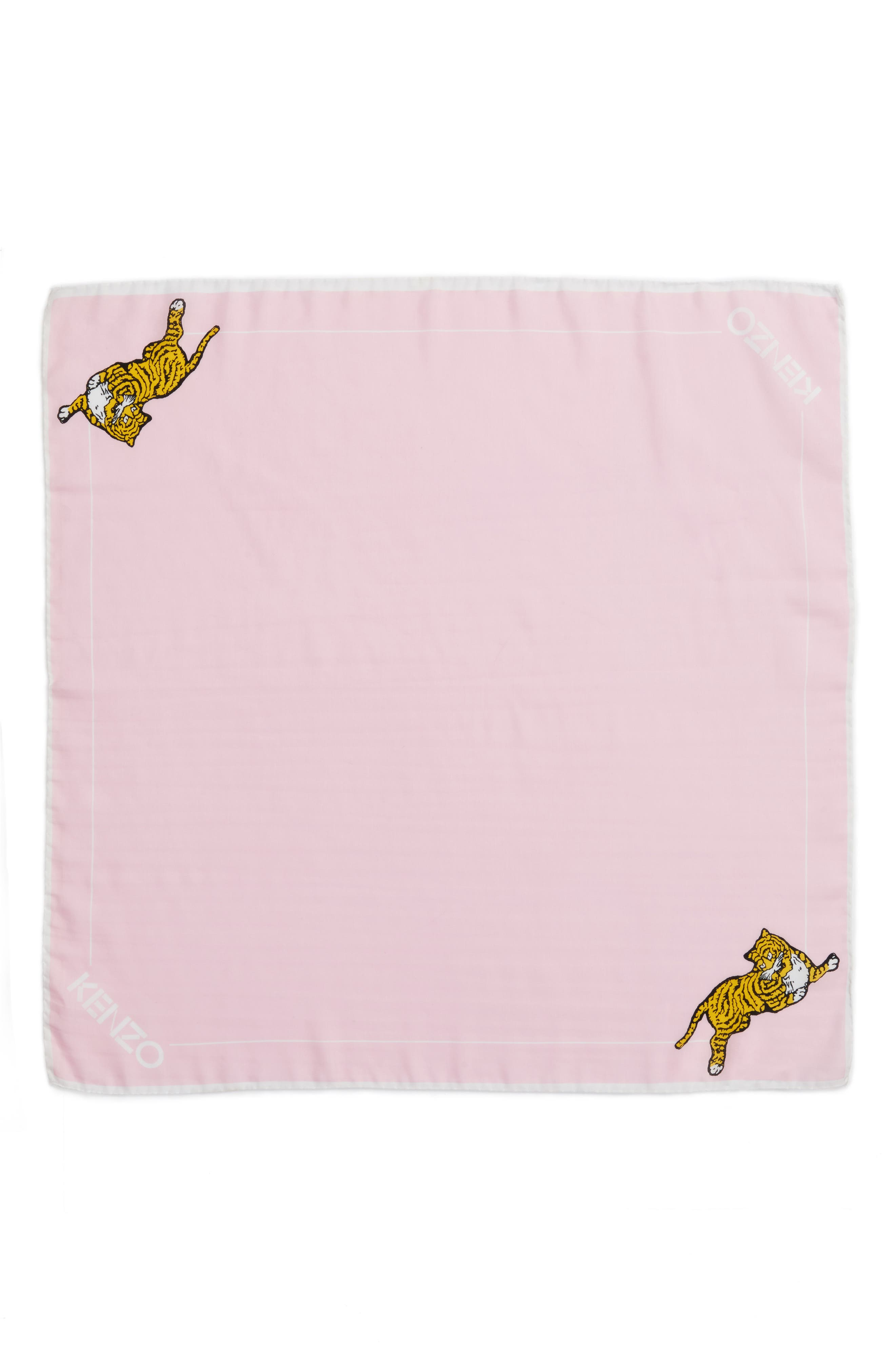 Walking Tiger Bandana Cotton & Silk Scarf,                             Main thumbnail 1, color,                             Faded Pink