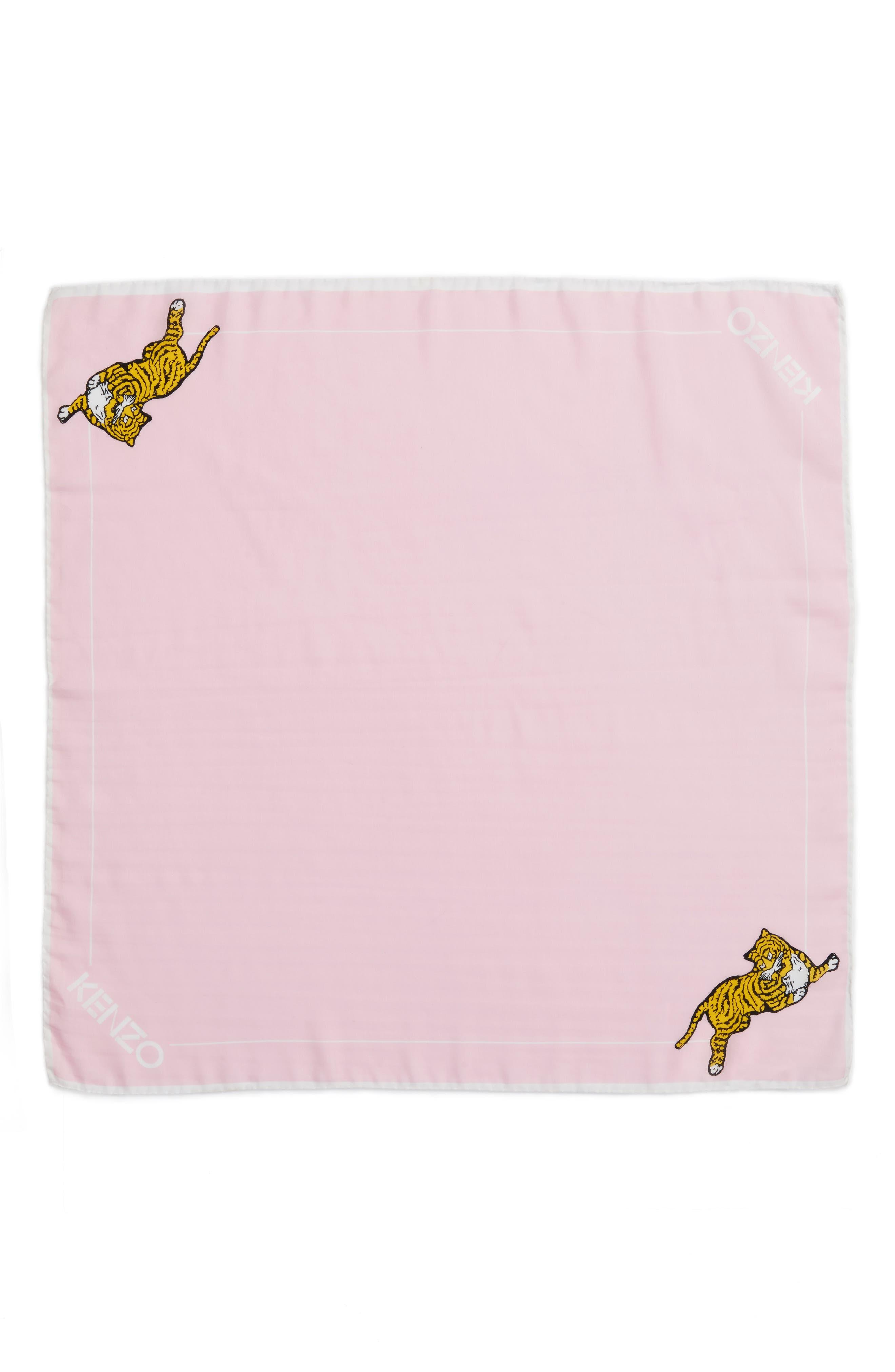 Walking Tiger Bandana Cotton & Silk Scarf,                         Main,                         color, Faded Pink