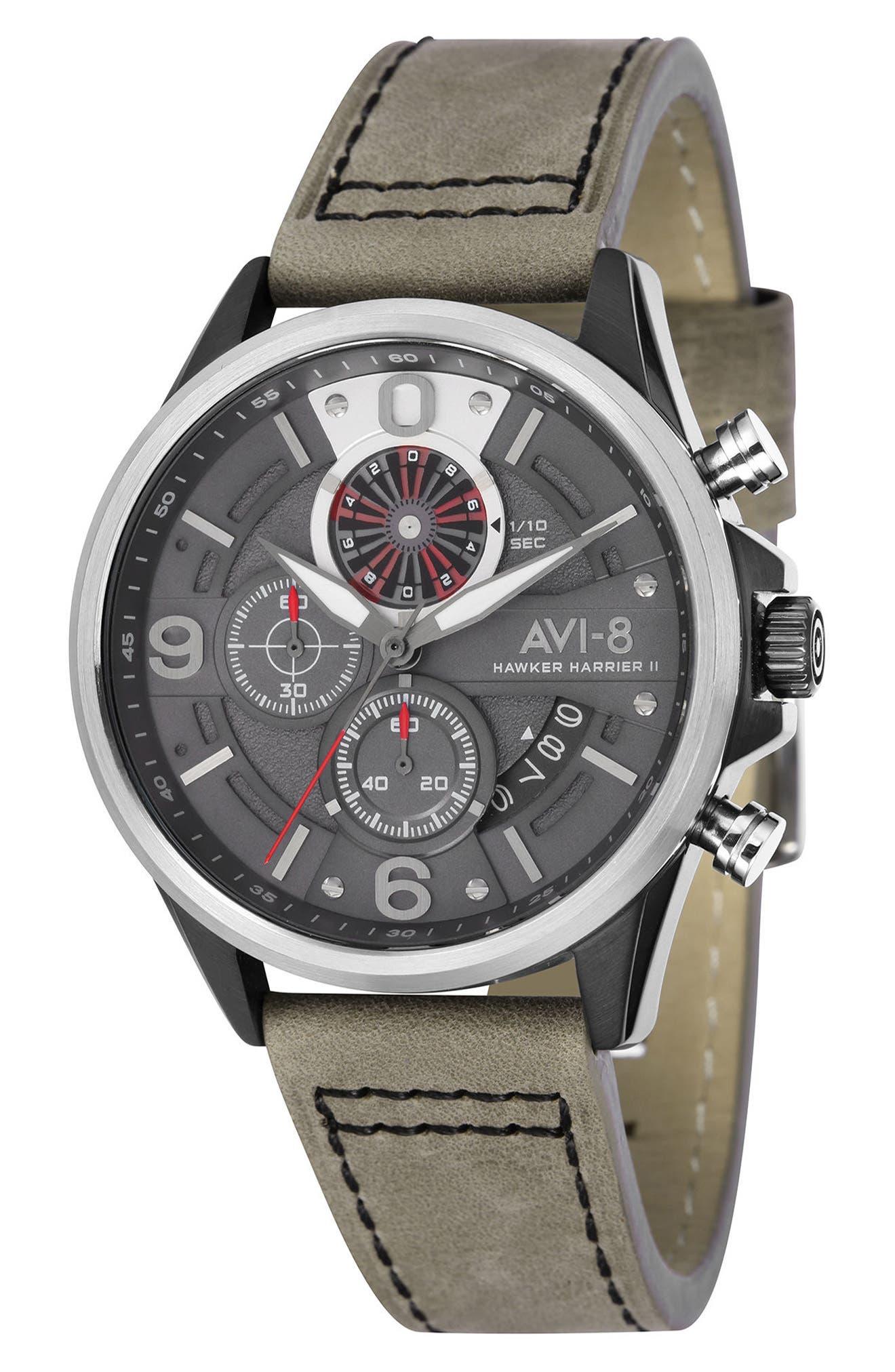Main Image - AVI-8 Hawker Harrier II Turbine Chronograph Leather Strap Watch, 45mm