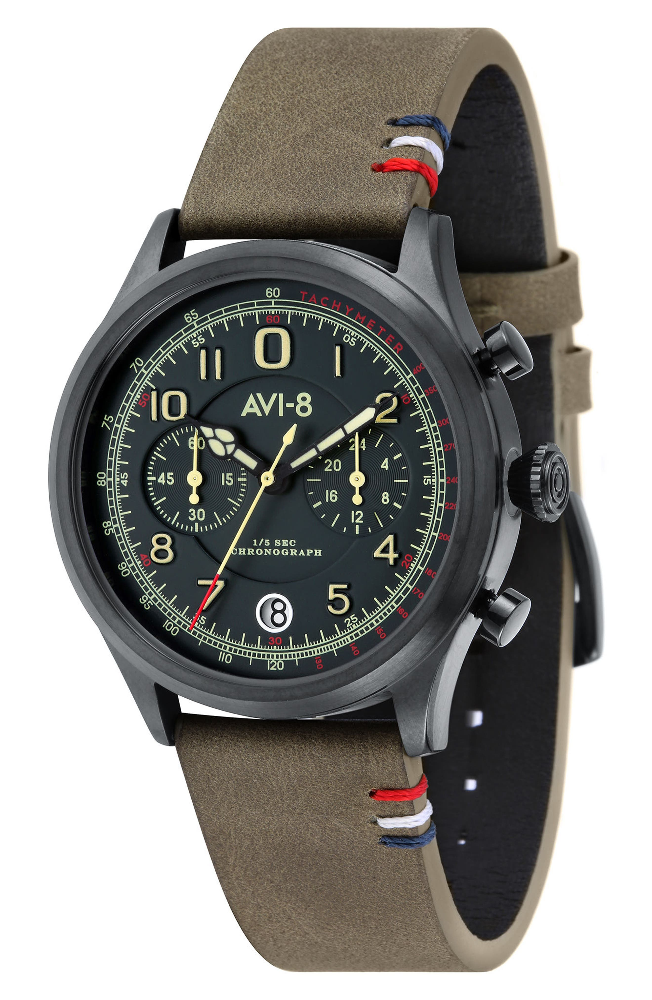Flyboy Lafayette Chronograph Leather Strap Watch, 42mm,                         Main,                         color, Green/ Natural