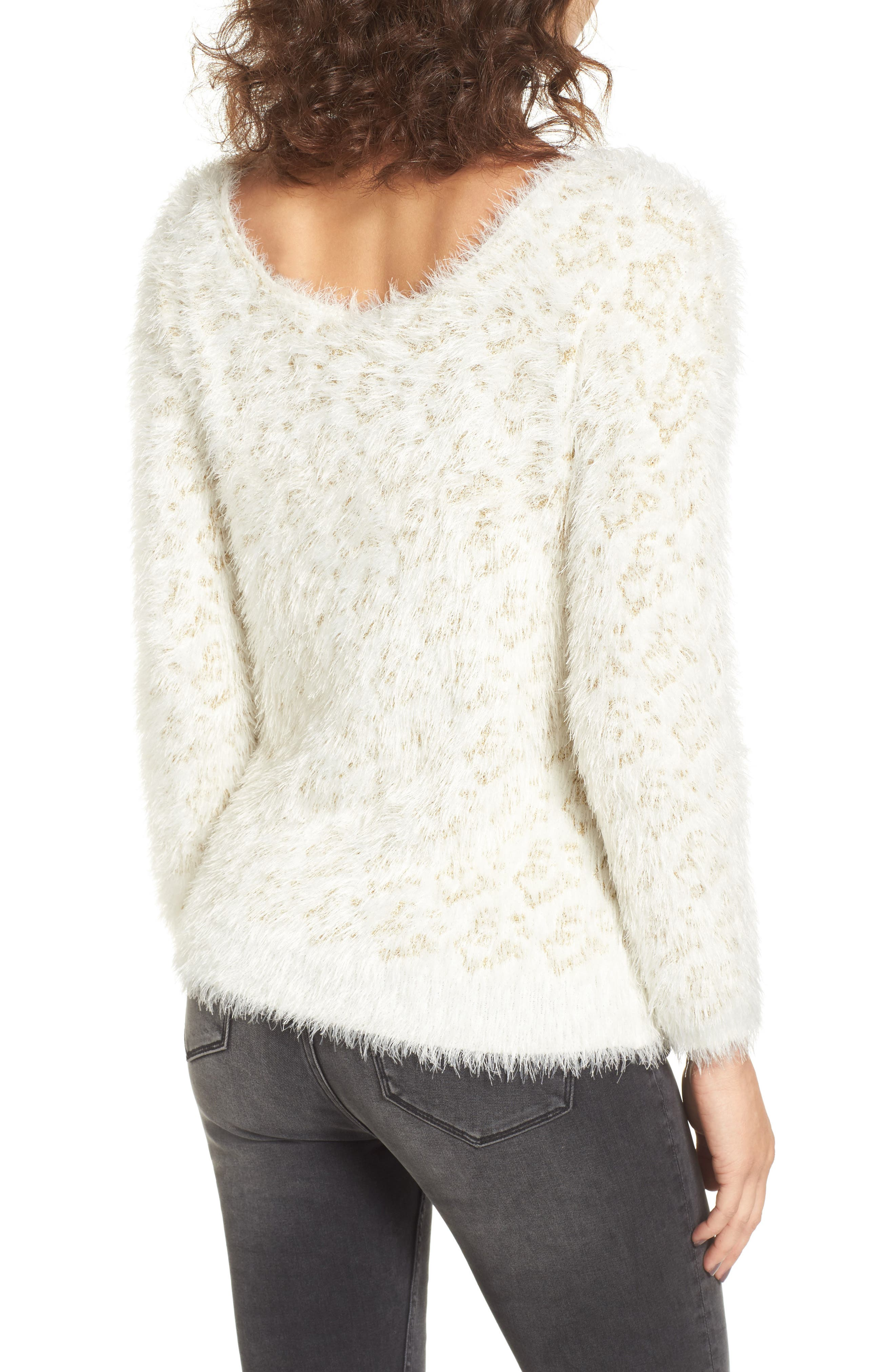 Cassidy Fuzzy Eyelash Sweater,                             Alternate thumbnail 2, color,                             Gold