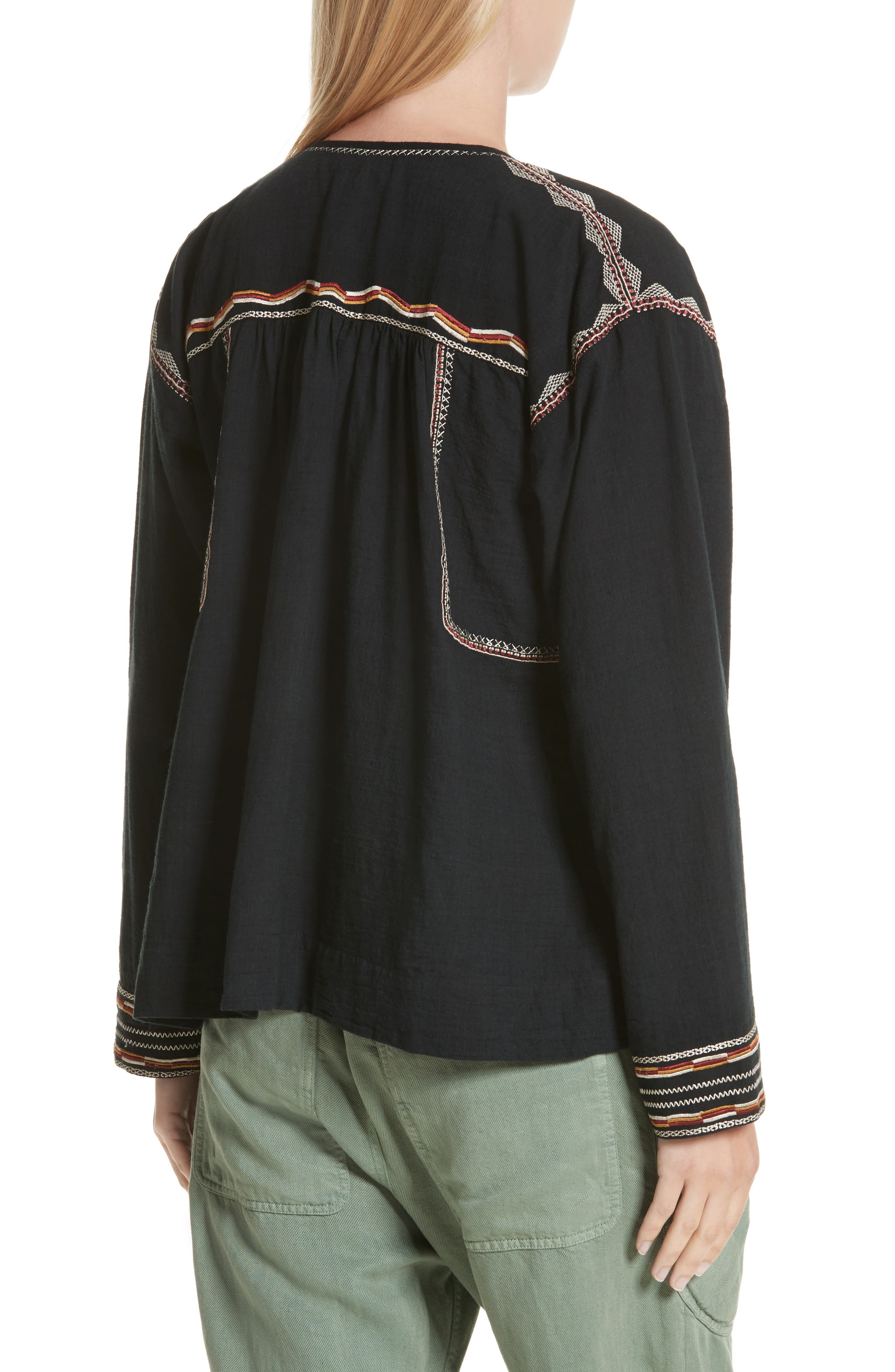 Isabel Marant Étoile Blicky Embroidered Top,                             Alternate thumbnail 2, color,                             Black