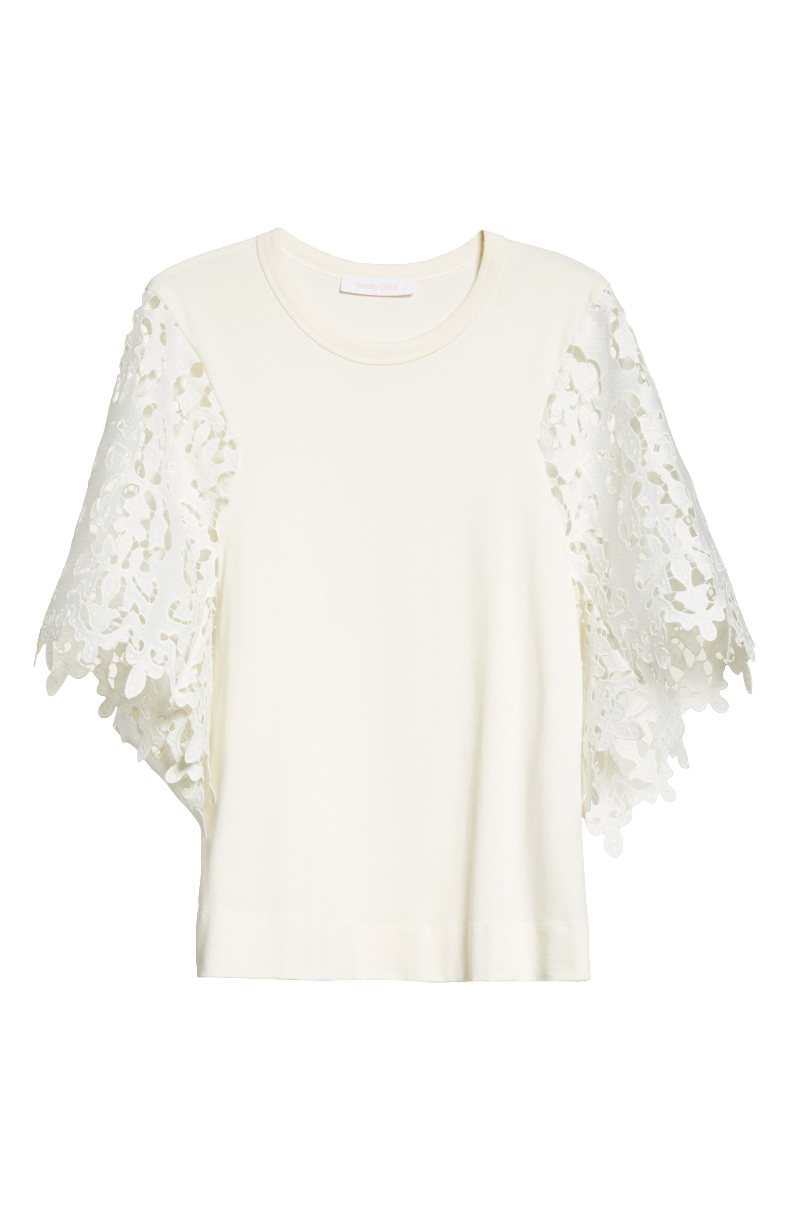 Lace Sleeve Top,                             Alternate thumbnail 6, color,                             Ivory