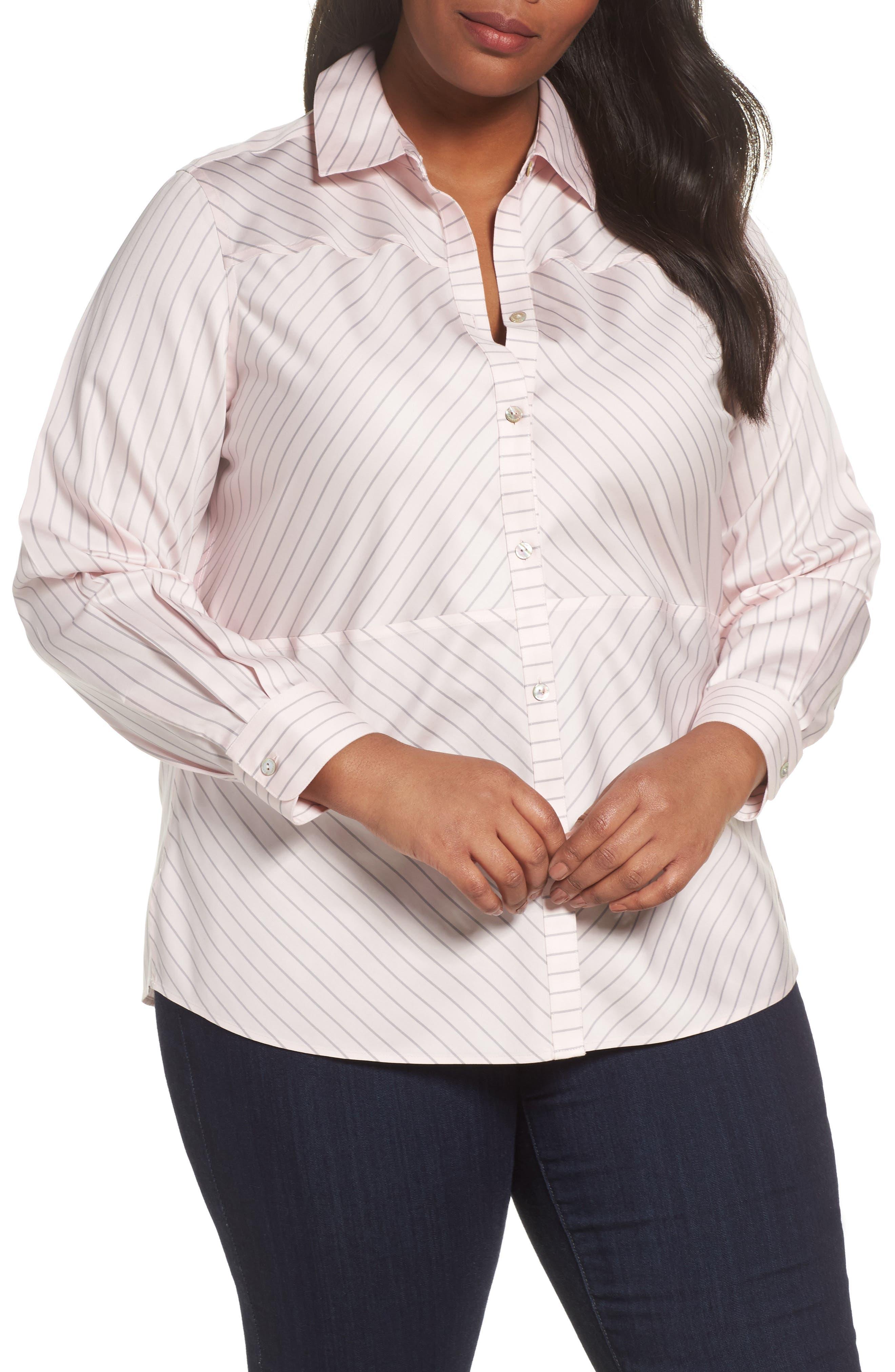 Monica Classic Stripe Shirt,                         Main,                         color, Blush