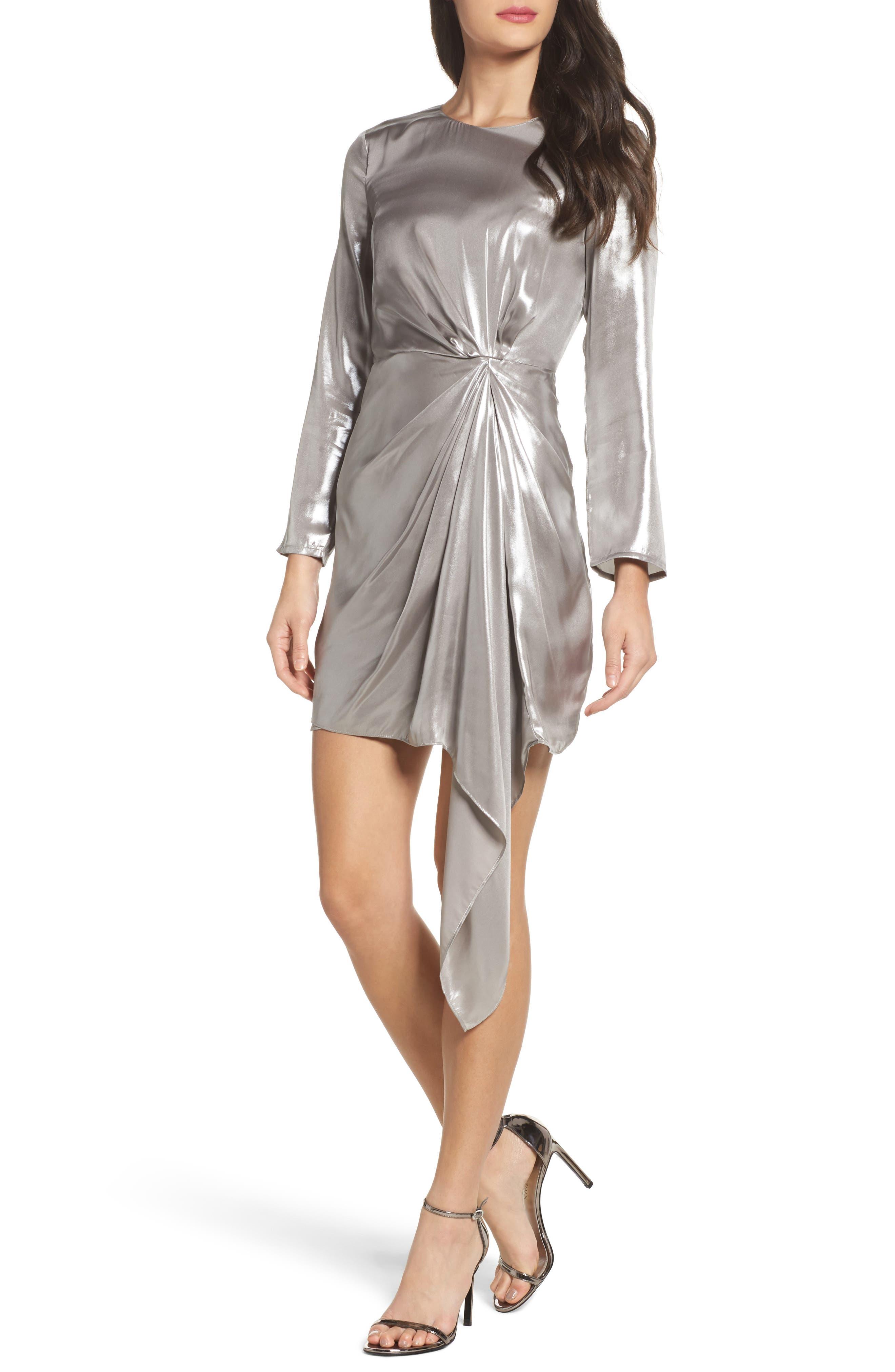 Shimmer Drape Front Dress,                         Main,                         color, Silver