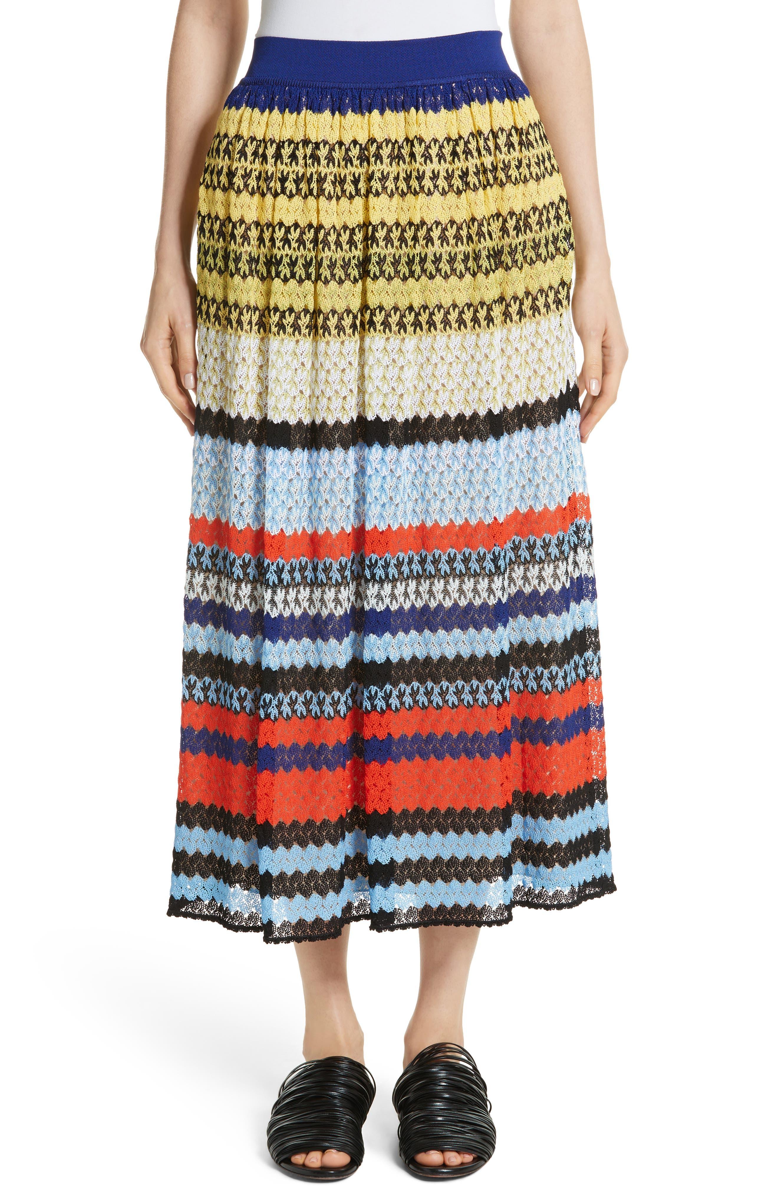 Stripe Knit Midi Skirt,                             Main thumbnail 1, color,                             Multi