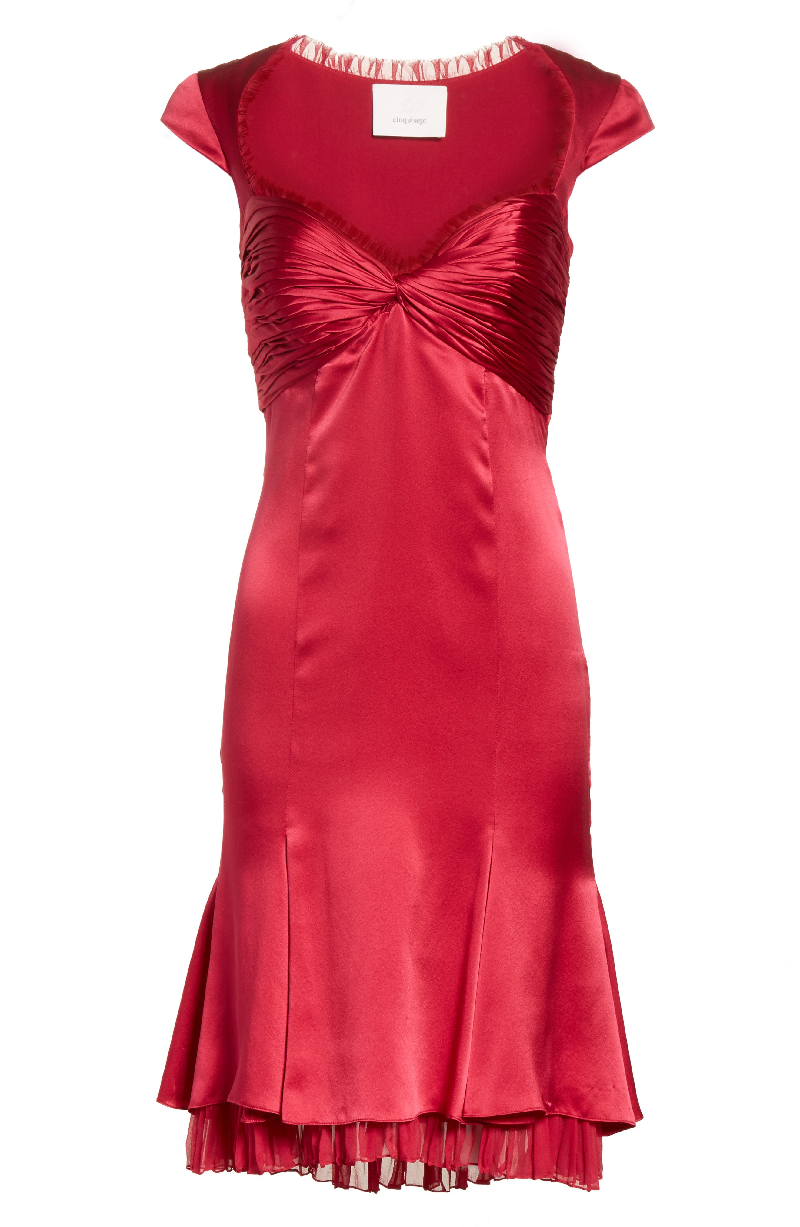 Marnie Satin Dress,                             Alternate thumbnail 6, color,                             Cerise