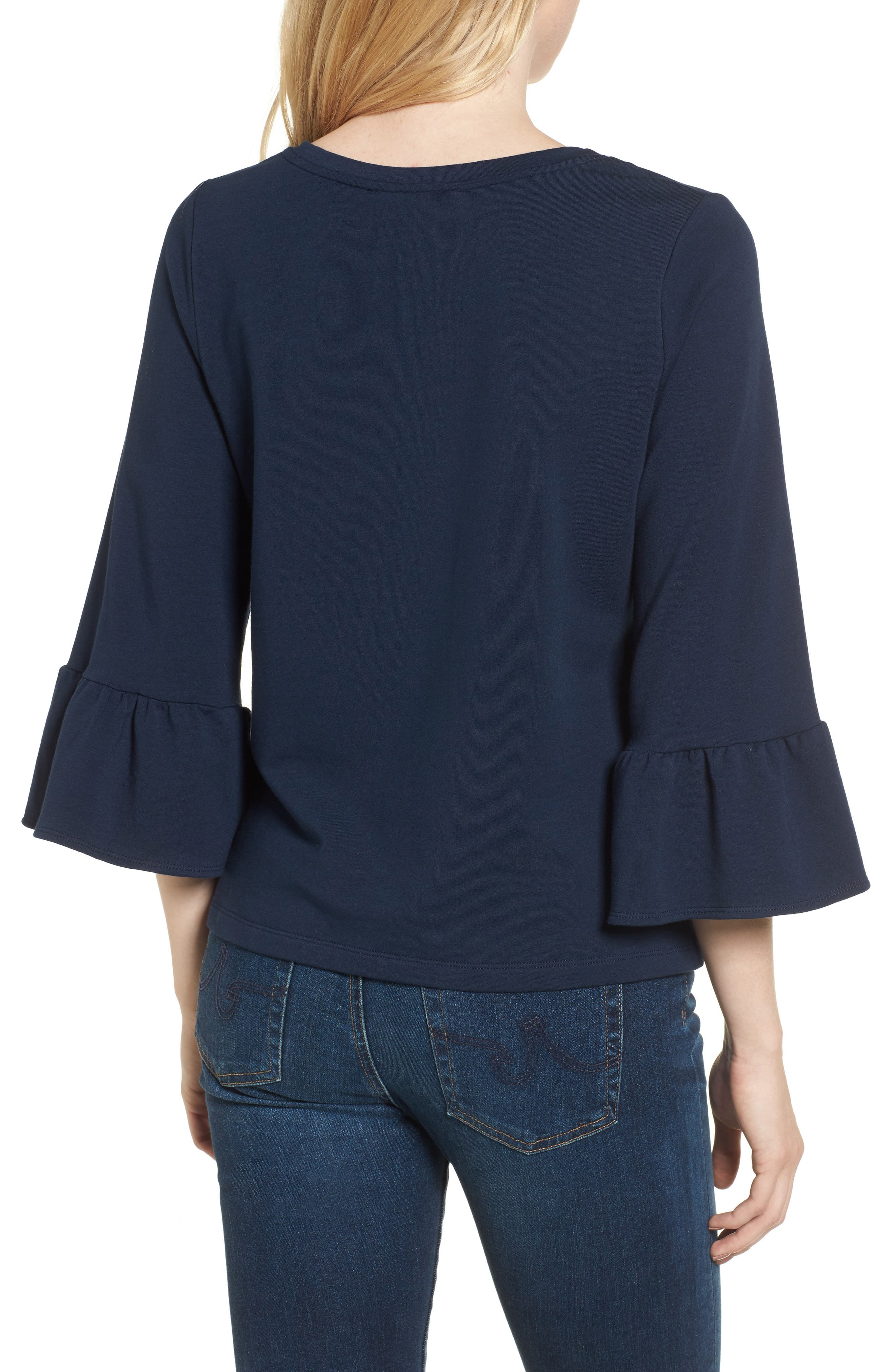 Bernadette Bell Sleeve Sweatshirt,                             Alternate thumbnail 2, color,                             Navy
