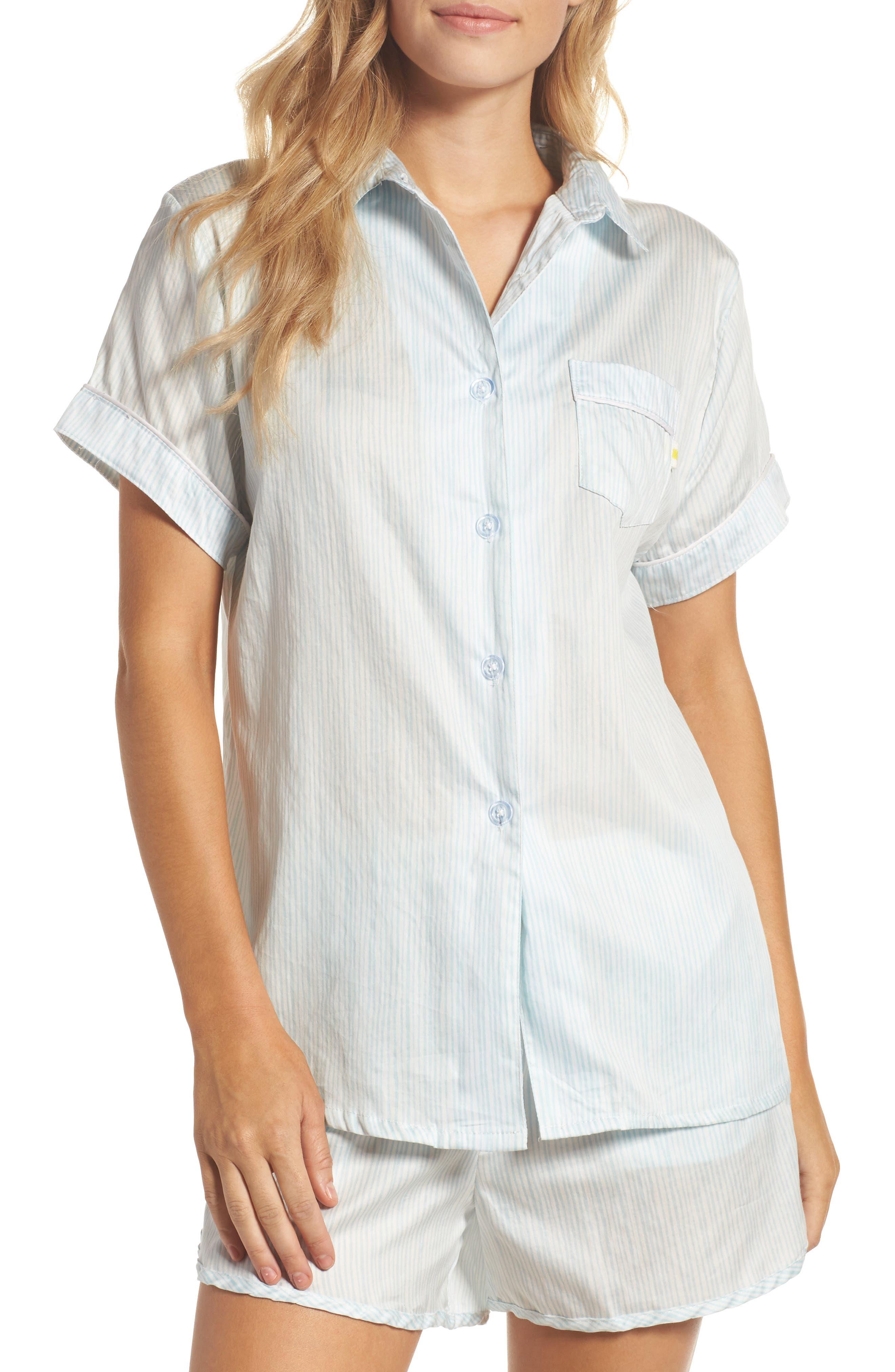 Kit Short Pajamas,                         Main,                         color, Pencil Stripe Seafoam