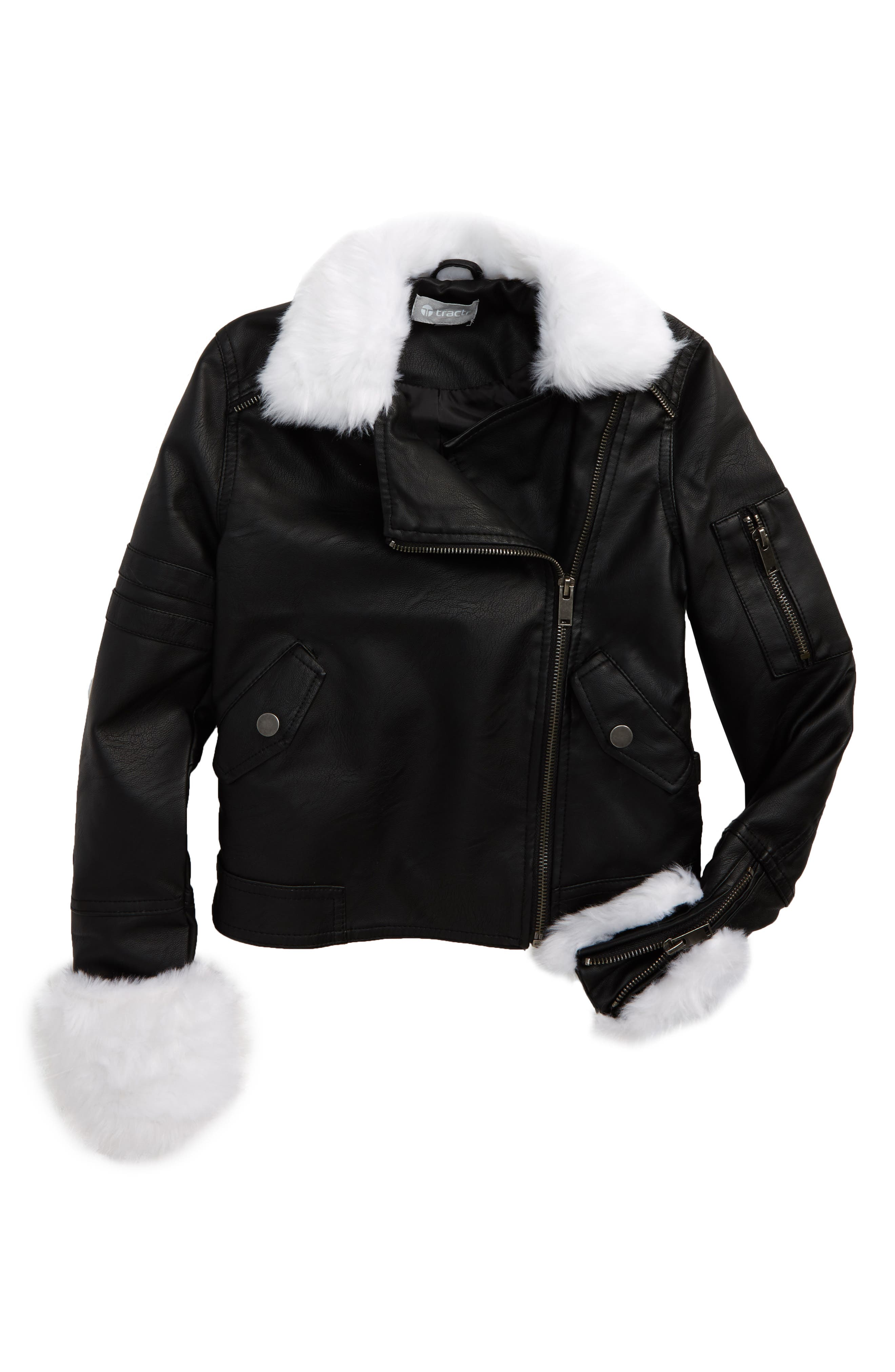 Tractr Faux Leather Bomber Jacket with Faux Fur Trim (Big Girls)