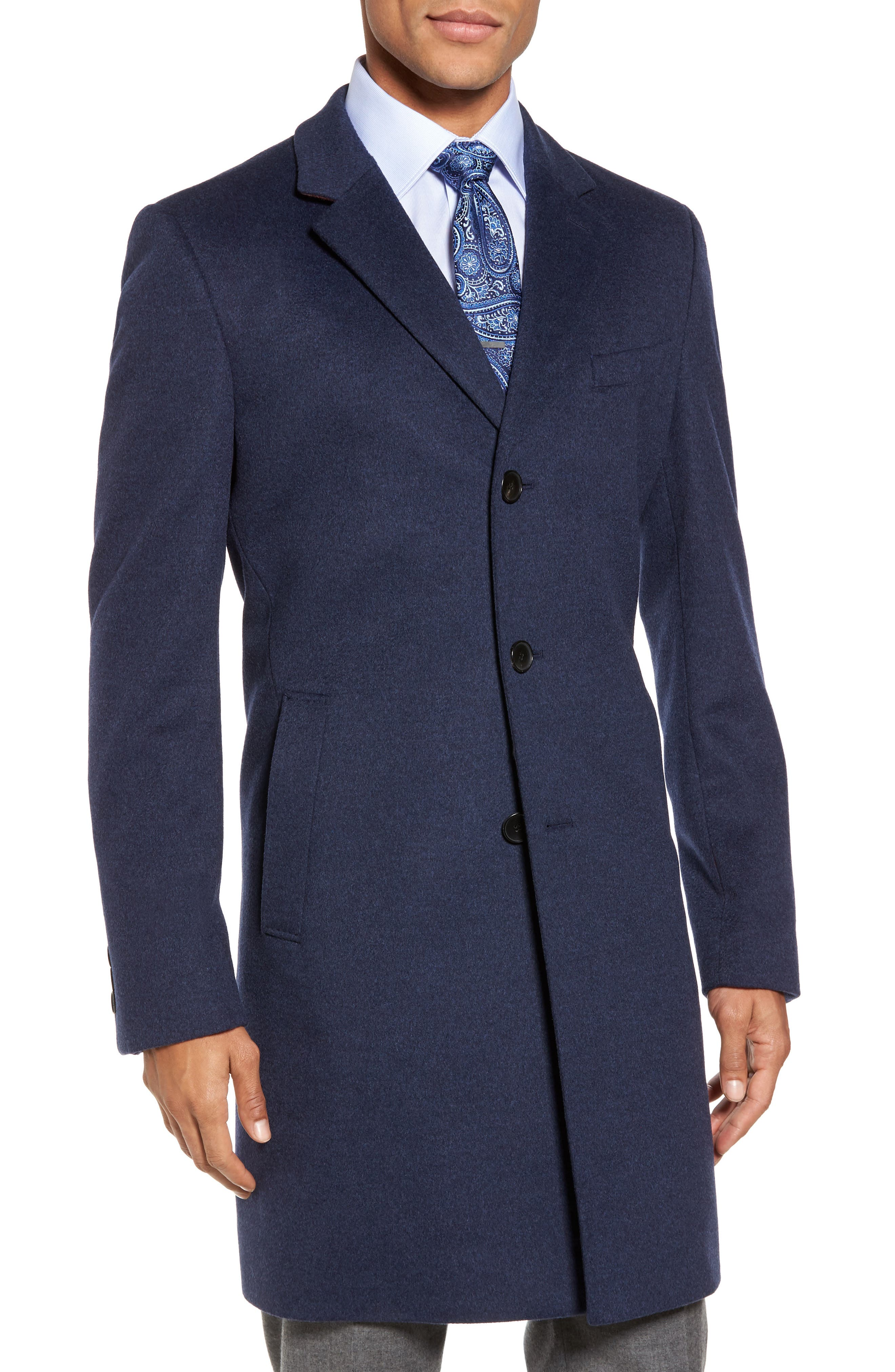 Nye Wool & Cashmere Topcoat,                         Main,                         color, Bright Blue