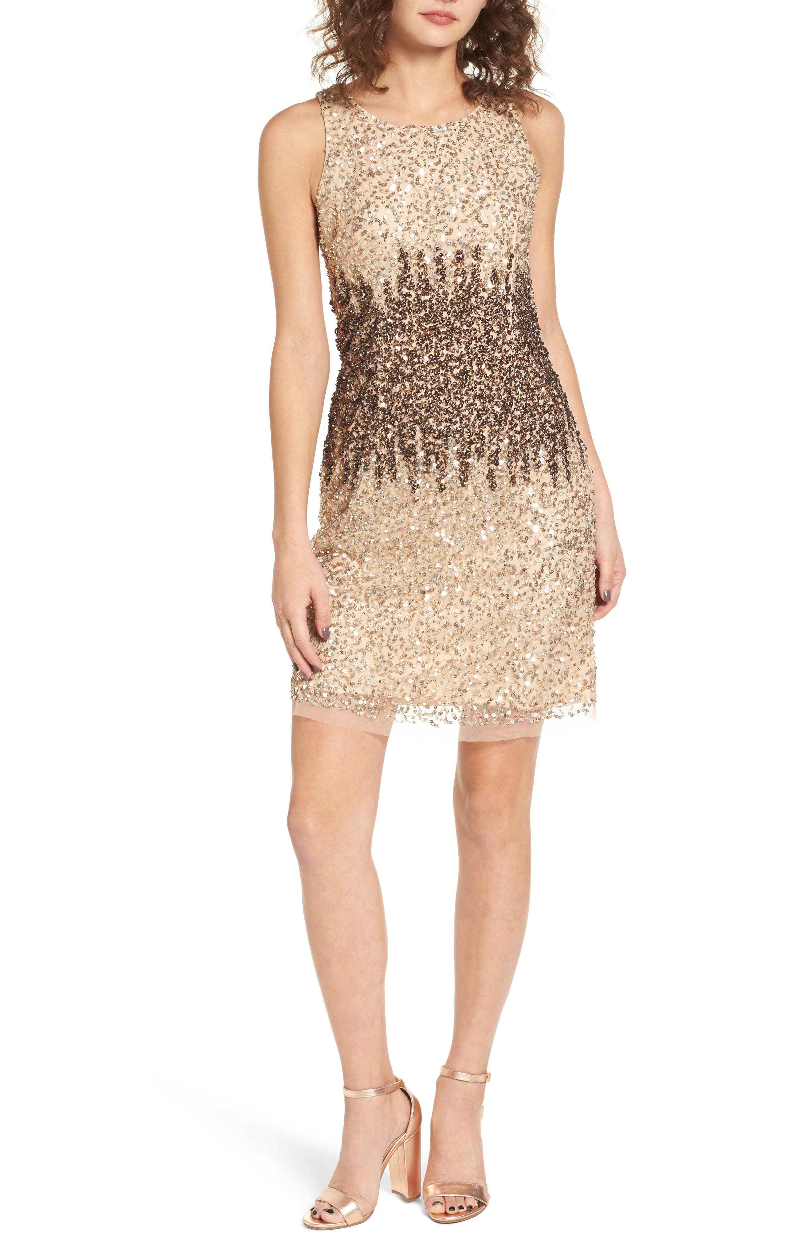 Sequins and Champagne Dress,                         Main,                         color, Beige