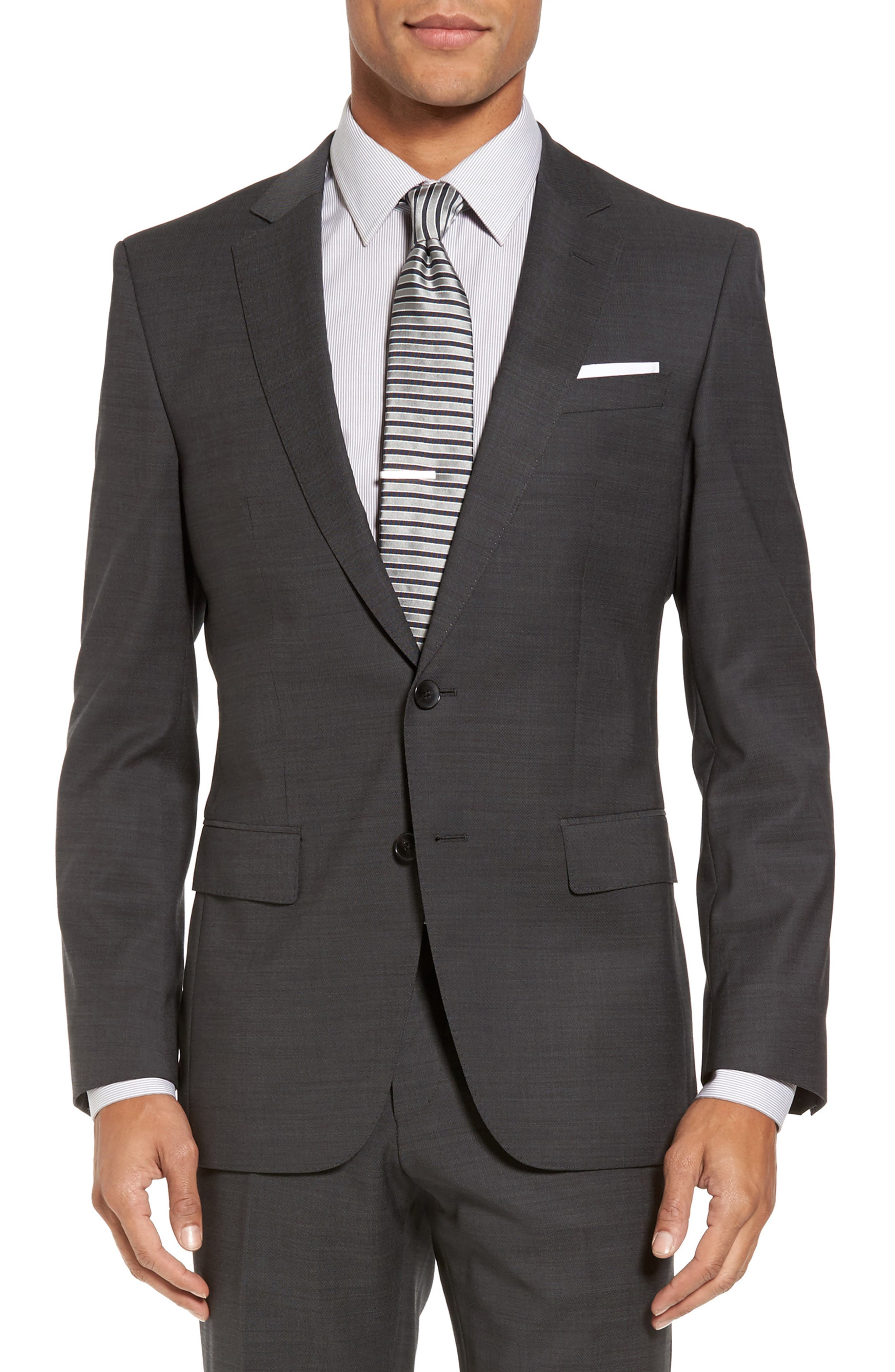 Huge/Genius Trim Fit Solid Wool Suit,                             Alternate thumbnail 5, color,                             Open Grey