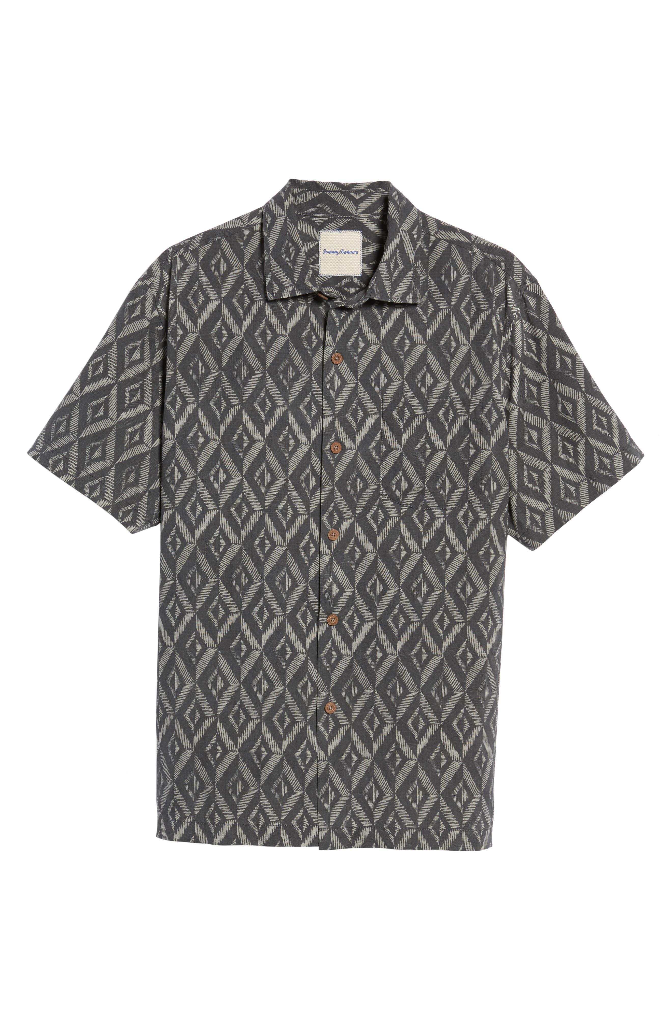 Alternate Image 6  - Tommy Bahama Diamond Tiles Silk Blend Camp Shirt