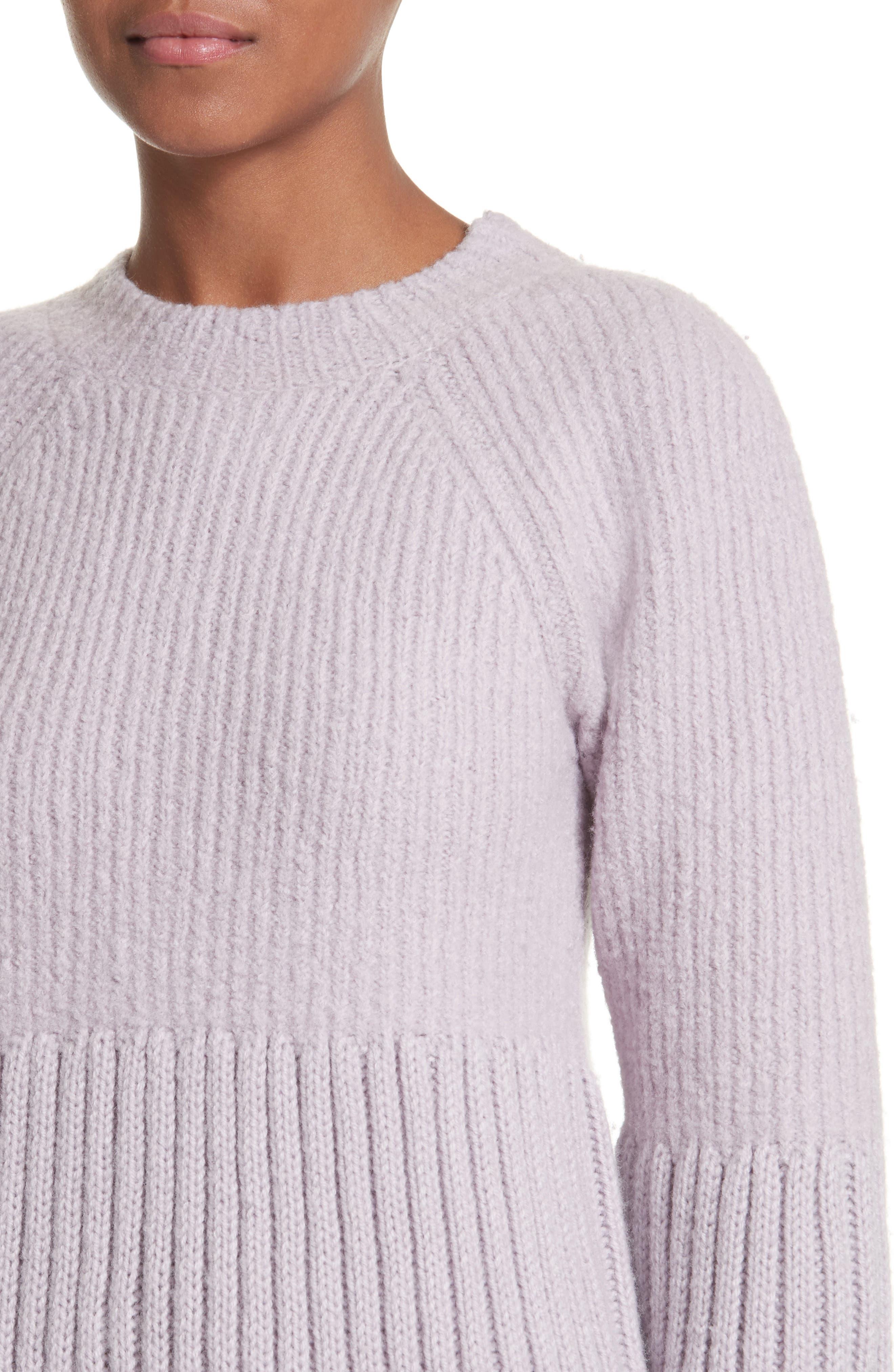 Wool Tunic Sweater,                             Alternate thumbnail 4, color,                             Lavendar