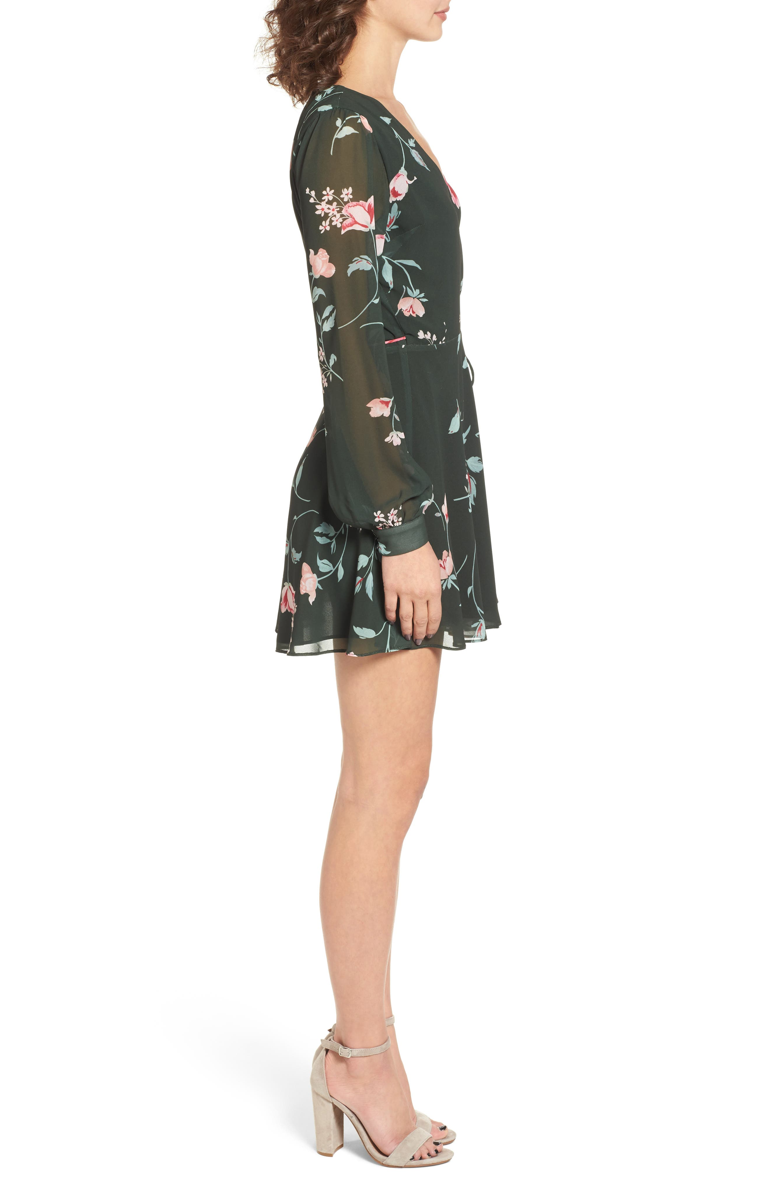 Castor Wrap Dress,                             Alternate thumbnail 3, color,                             Evergreen Floral