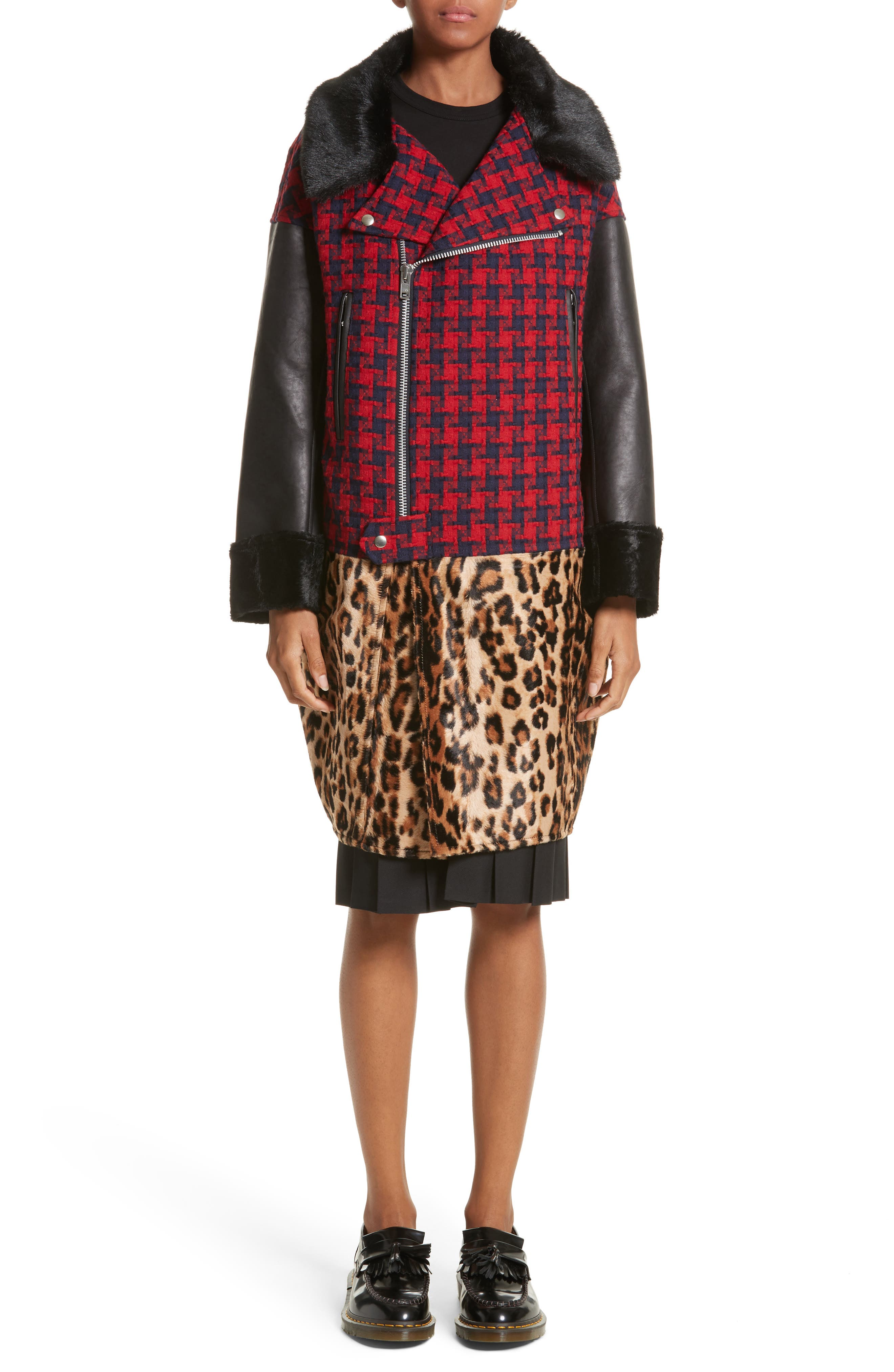 Buffalo Check Moto Jacket with Faux Fur Trim,                             Main thumbnail 1, color,                             Red/Nvy X Bge/Brn