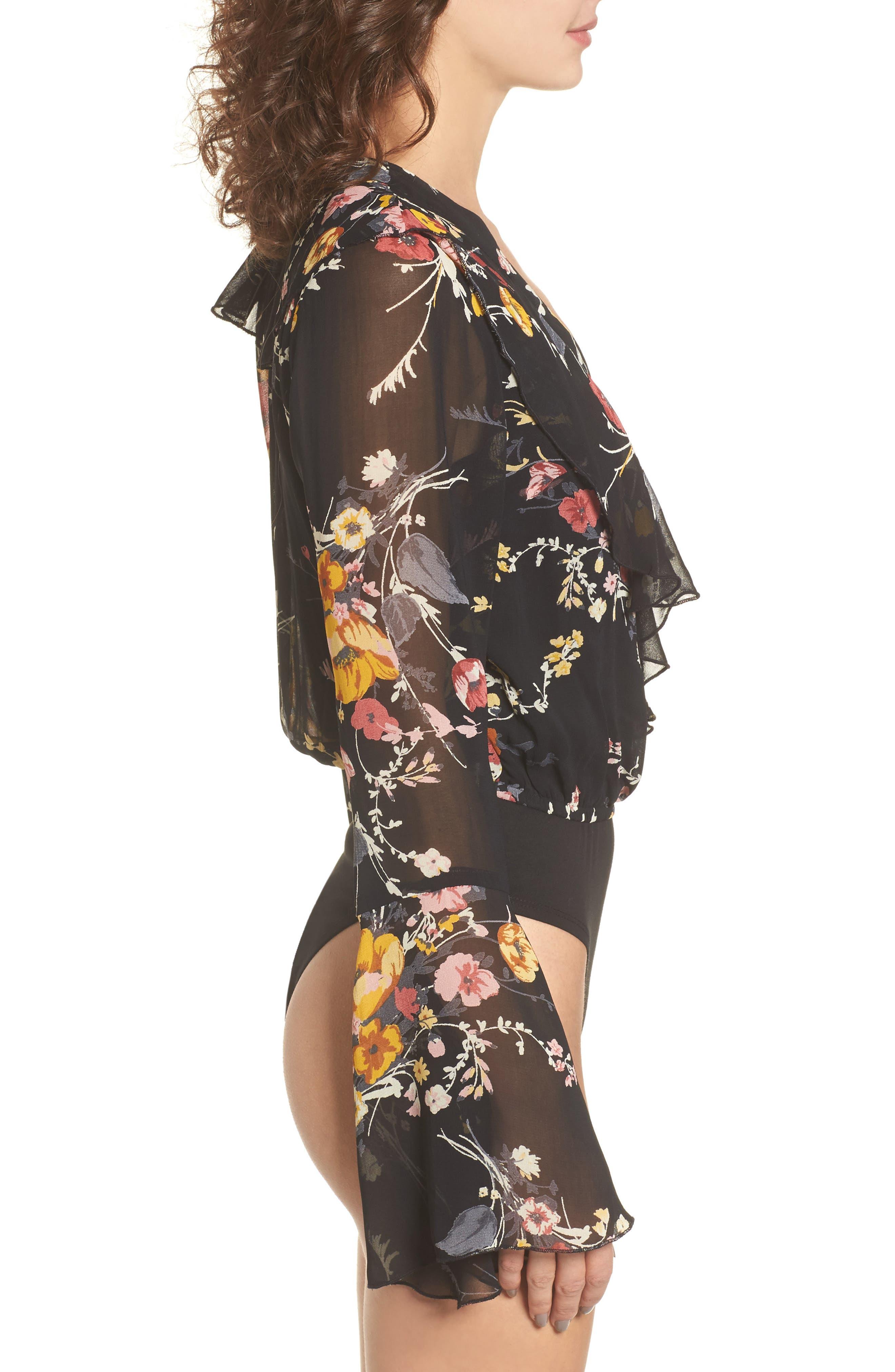 Floral Ruffle Bodysuit,                             Alternate thumbnail 4, color,                             Black/ Mustard