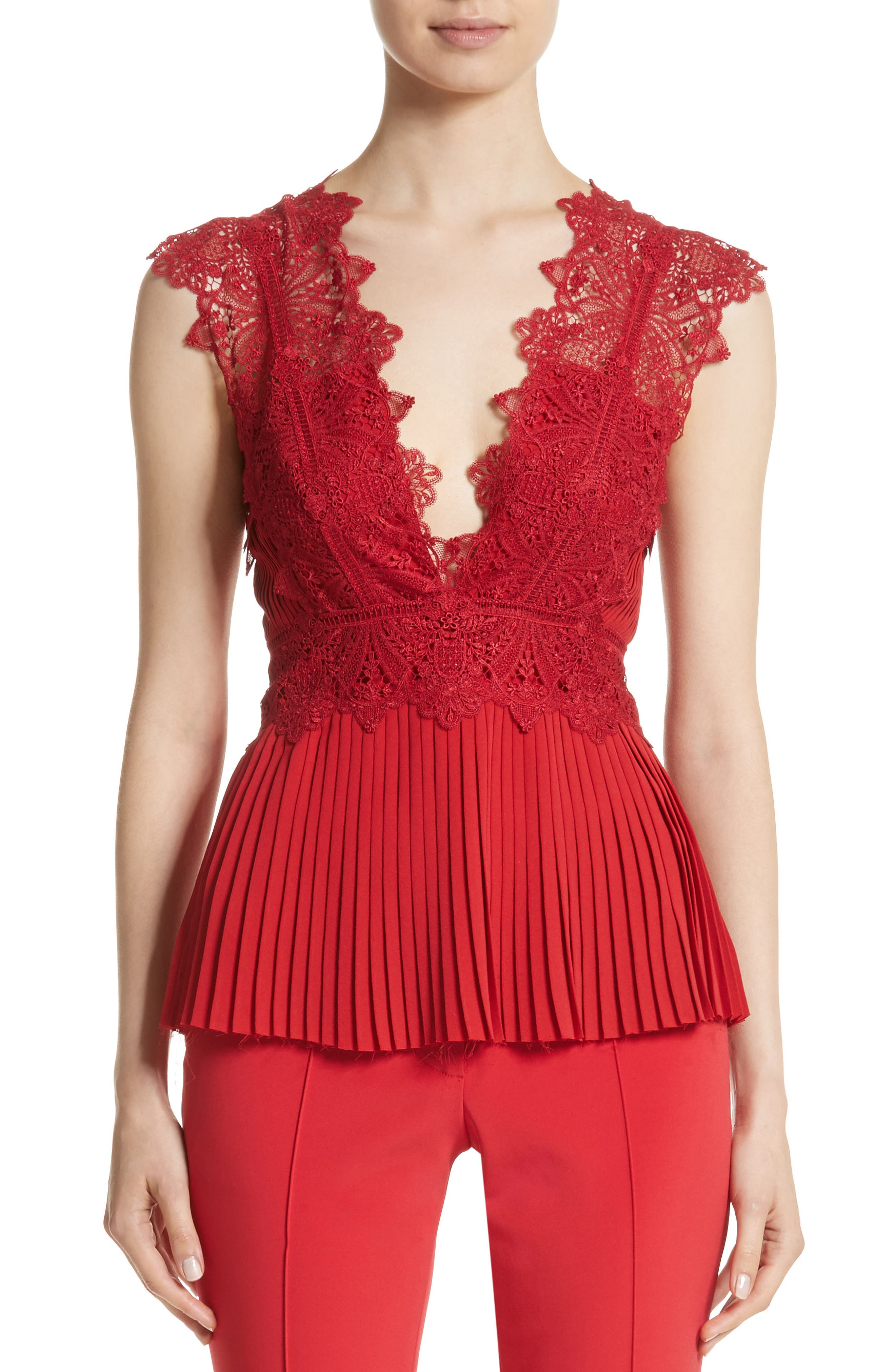 Coral Embroidered Pleated Top,                             Main thumbnail 1, color,                             Scarlet