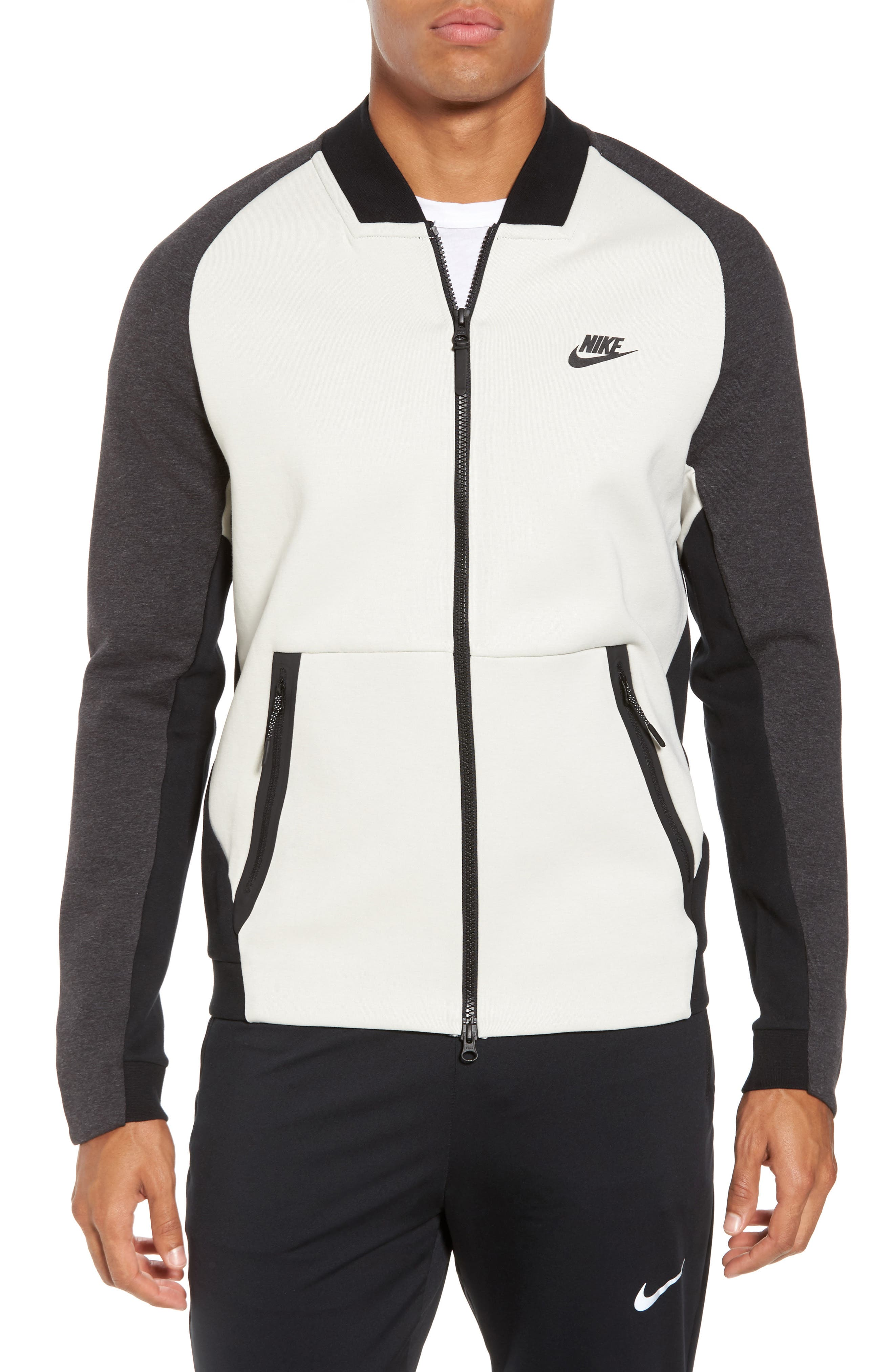 Tech Fleece Varsity Jacket,                         Main,                         color, Light Bone/ Grey/ Heather
